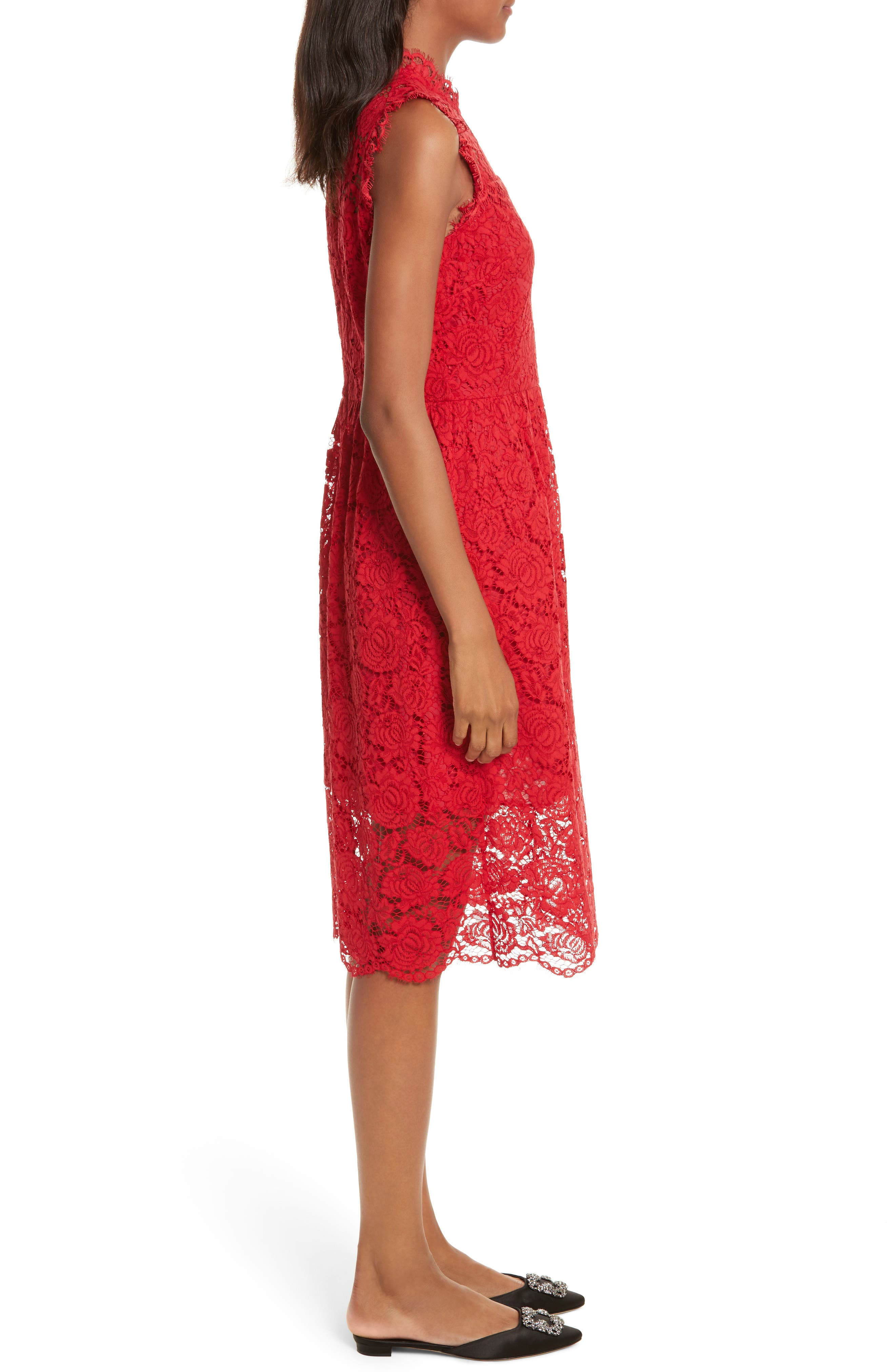 kate spade poppy lace dress,                             Alternate thumbnail 3, color,                             622