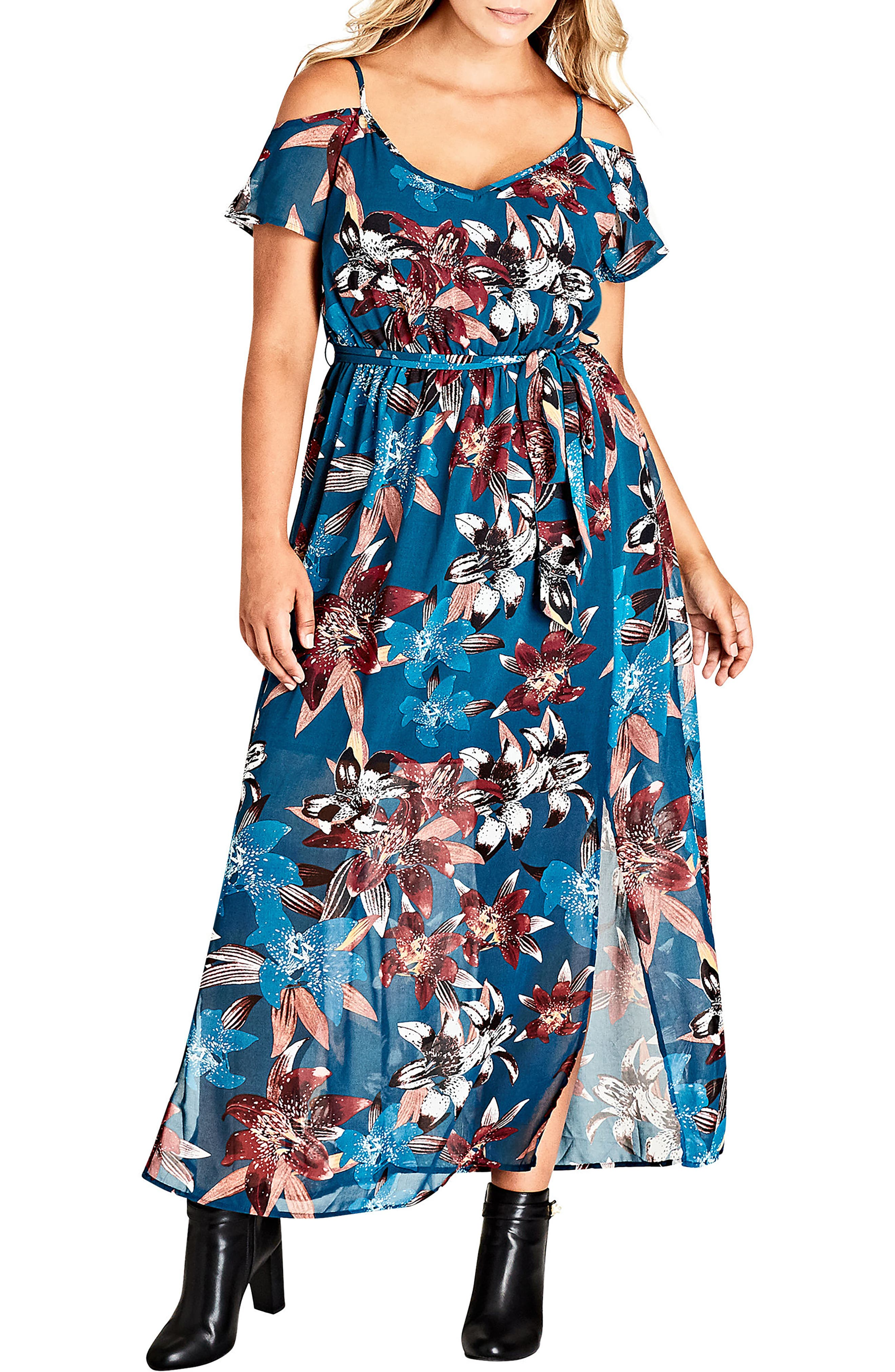 Fall Lily Off the Shoulder Maxi Dress,                             Main thumbnail 1, color,                             001