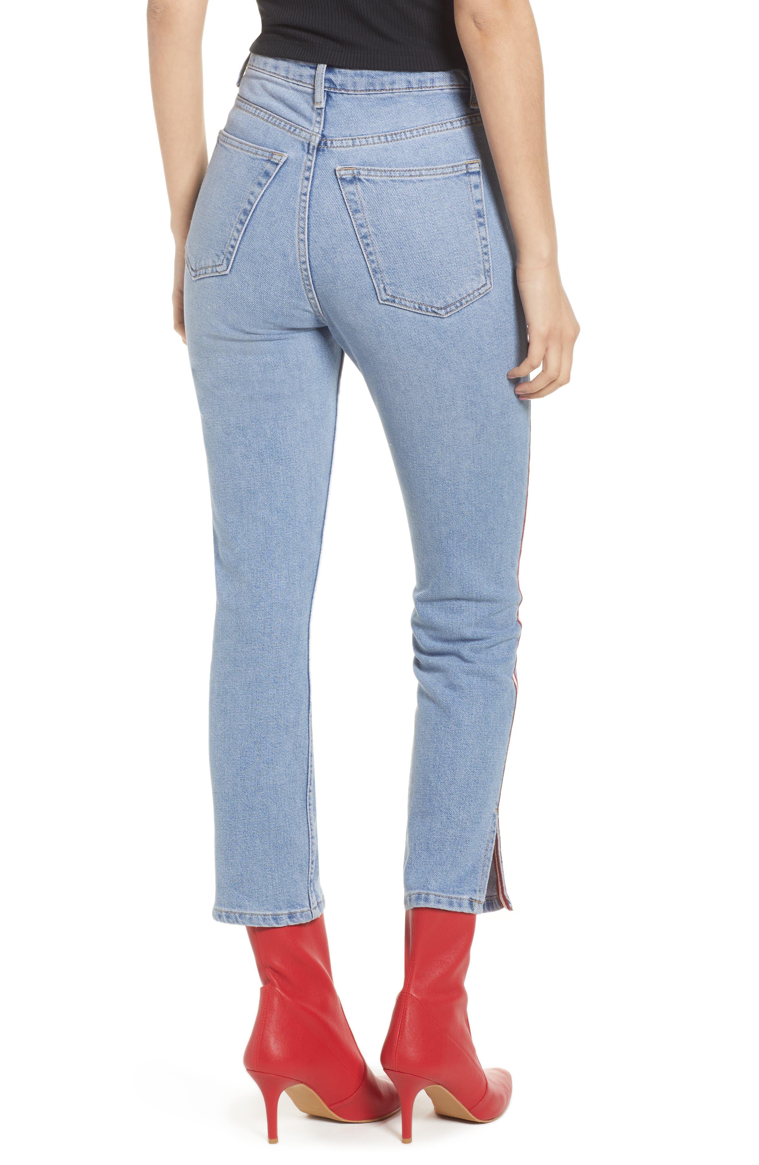 Moto Crop Straight Leg Jeans,                             Alternate thumbnail 2, color,