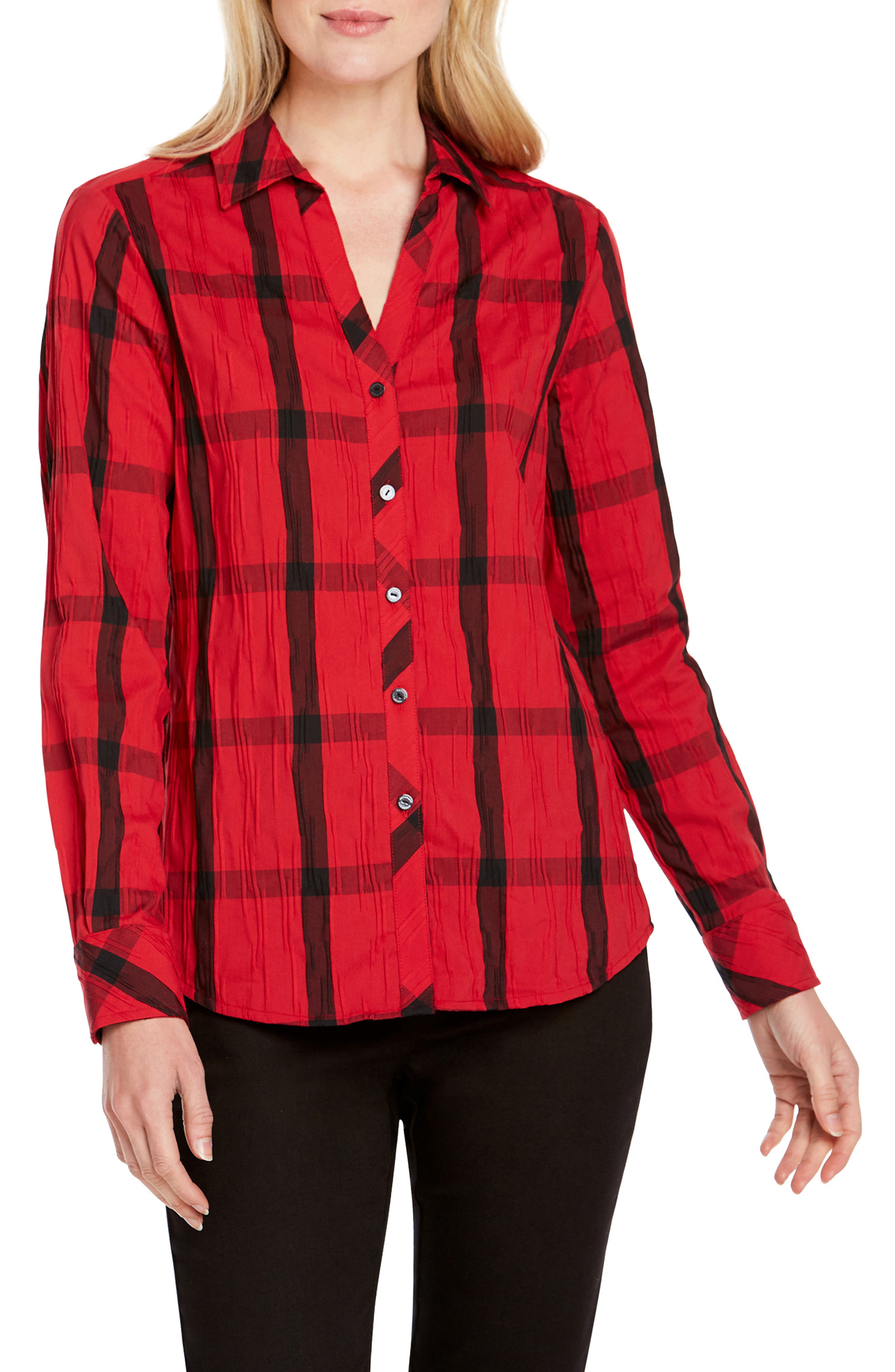 Mary in Crinkle Windowpane Shirt,                             Main thumbnail 1, color,                             RED LACQUER