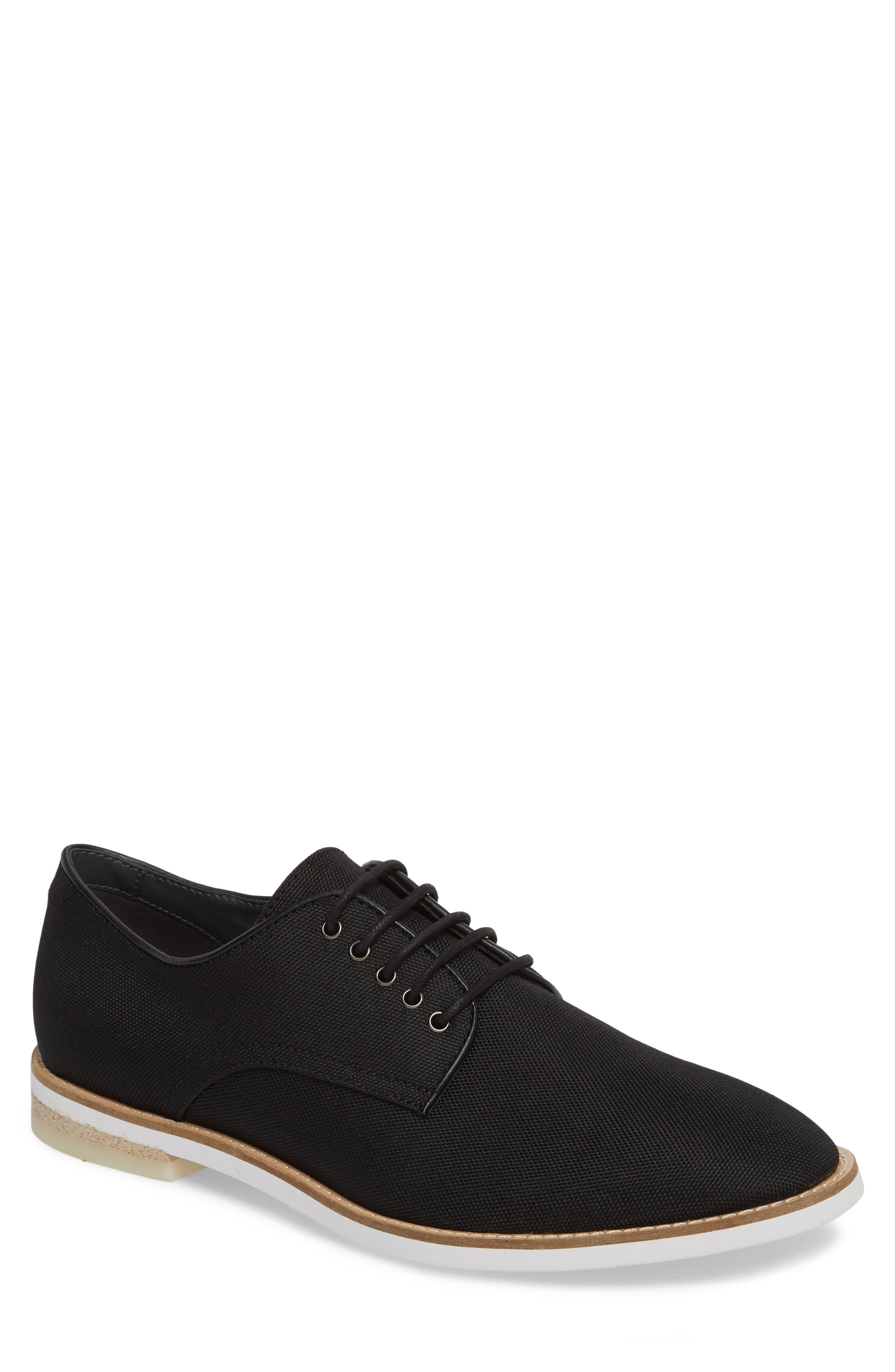 Atlee Plain Toe Derby,                             Main thumbnail 1, color,                             BLACK SYNTHETIC