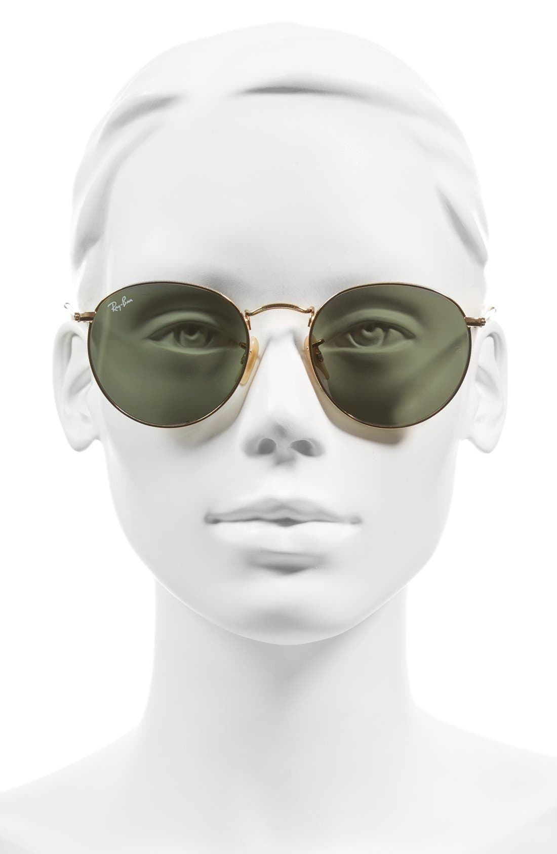 RAY-BAN,                             Icons 53mm Retro Sunglasses,                             Alternate thumbnail 2, color,                             GOLD/ GREEN