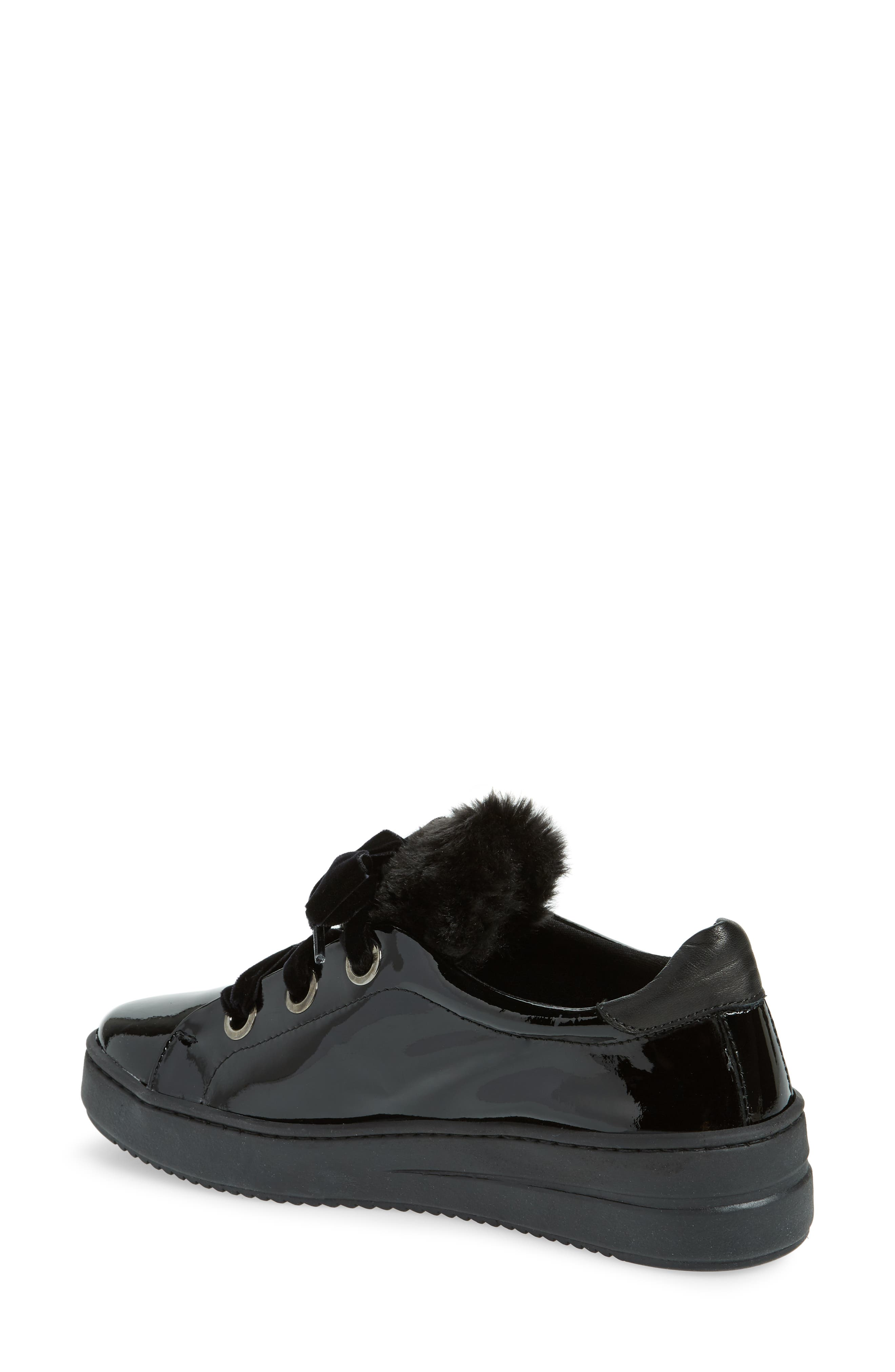 Groove Faux-Shearling Trim Sneaker,                             Alternate thumbnail 2, color,                             BLACK PATENT LEATHER