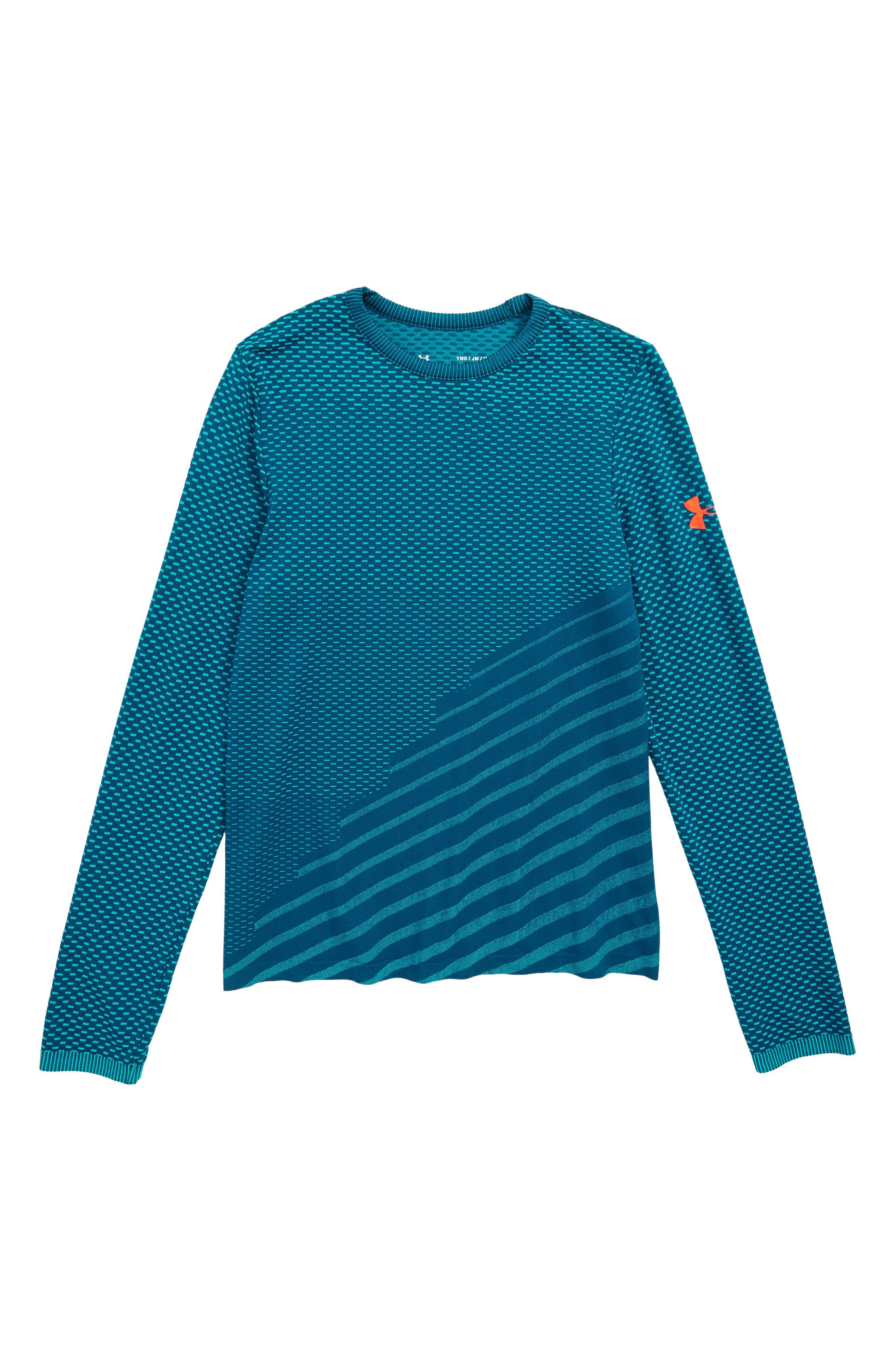Seamless HeatGear<sup>®</sup> Shirt,                         Main,                         color, TECHNO TEAL