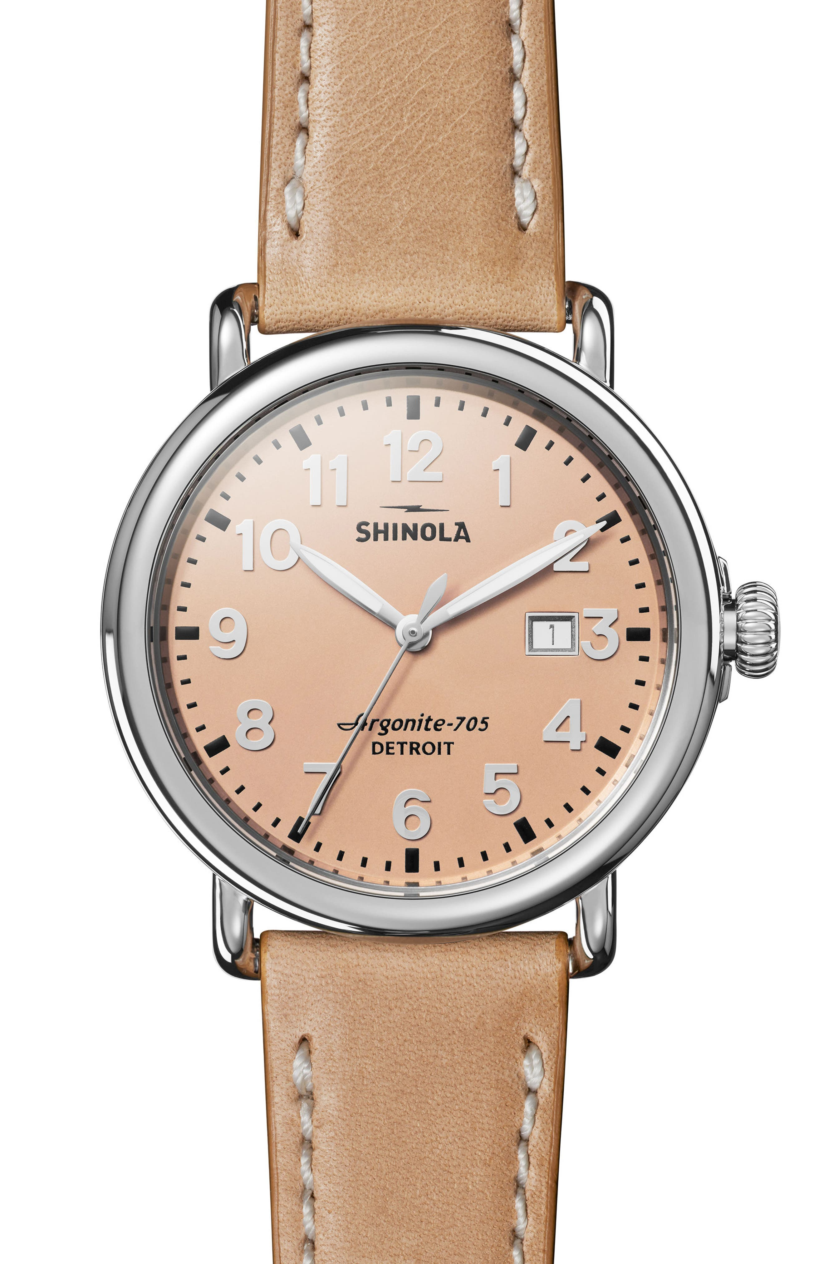 'Runwell' Leather Strap Watch, 41mm,                         Main,                         color, NATURAL/ ROSE GOLD/ SILVER
