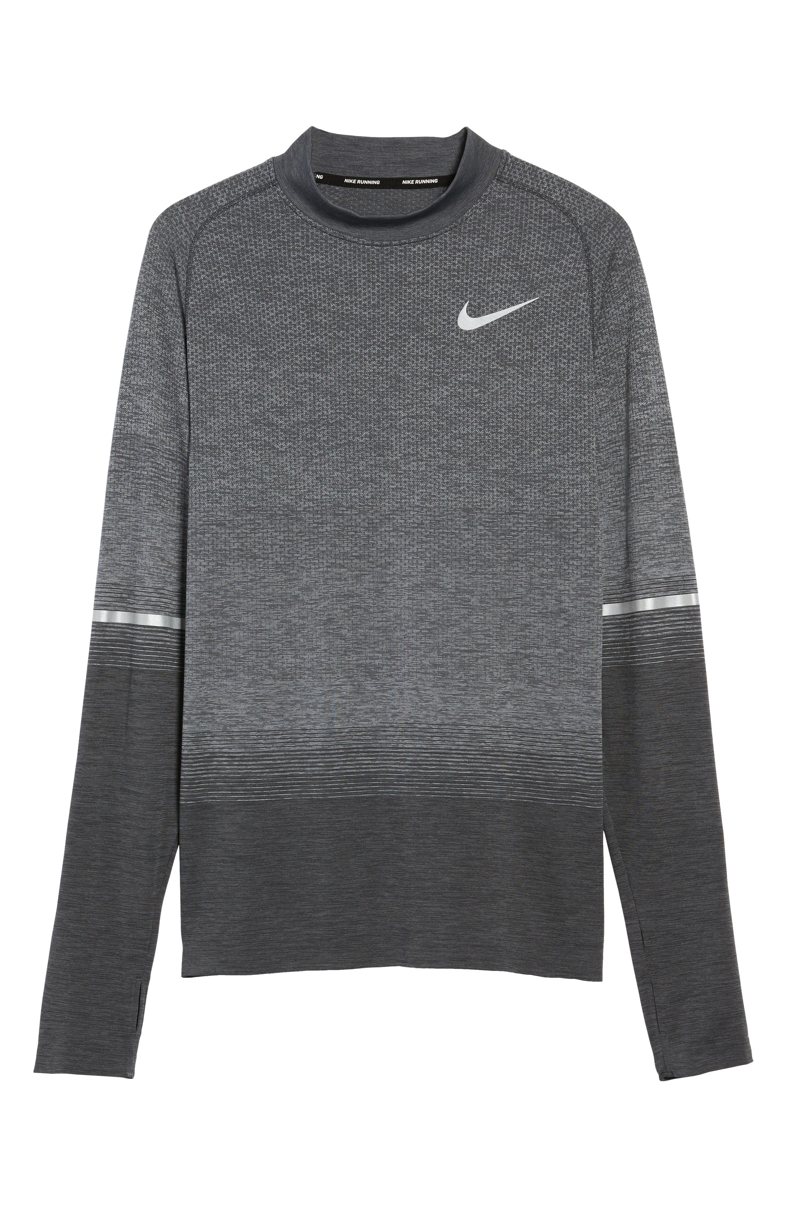 Dry Running Mock Neck Long Sleeve T-Shirt,                             Alternate thumbnail 6, color,                             ANTHRACITE/ WOLF GREY/ GREY