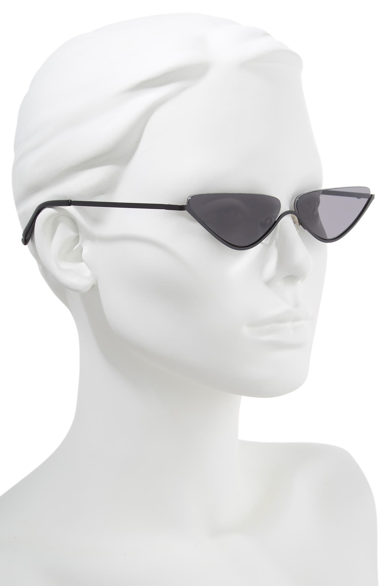 62mm Half Rim Cat Eye Sunglasses,                             Alternate thumbnail 2, color,                             001