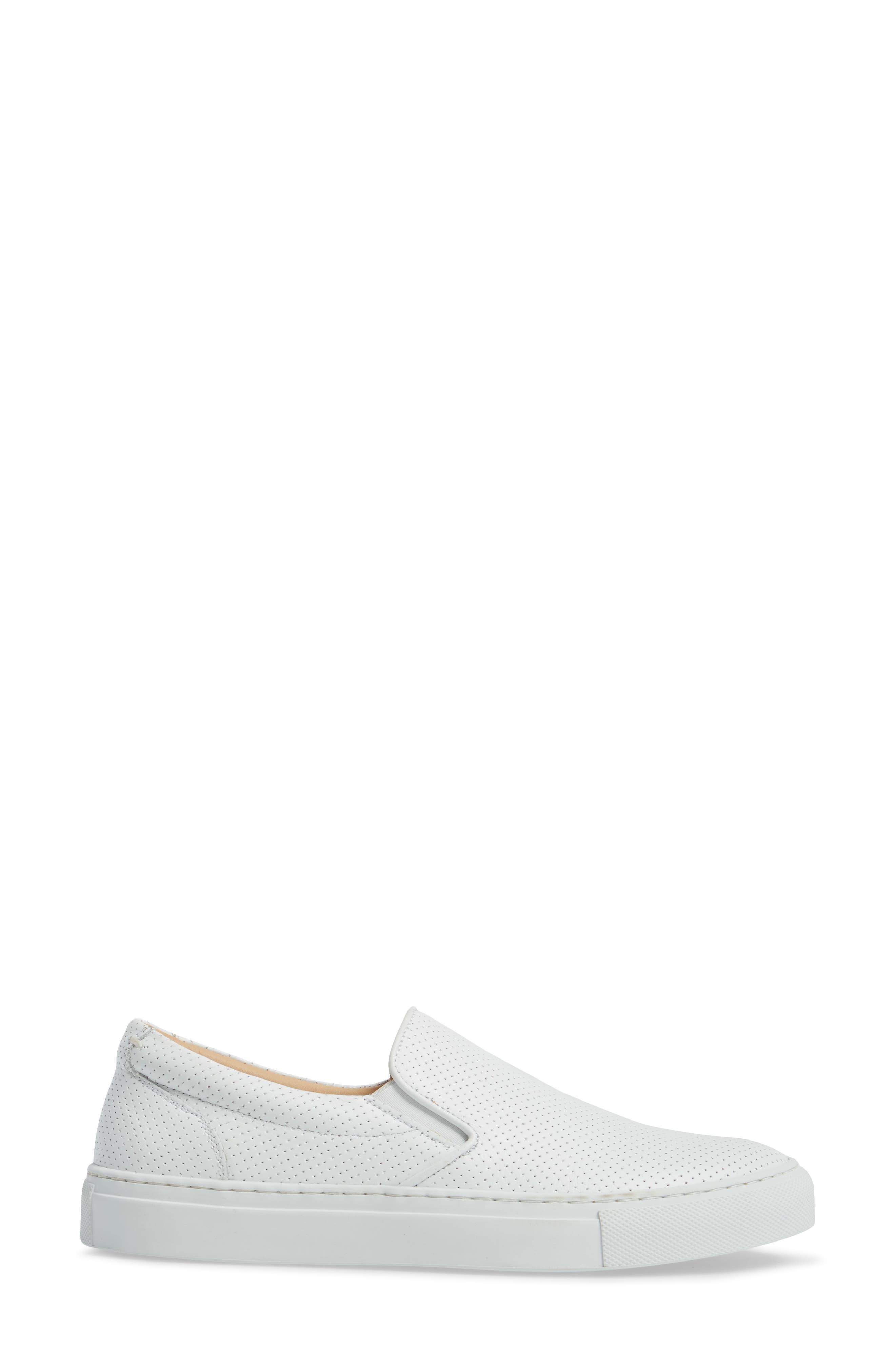 Wooster Slip-On Sneaker,                             Alternate thumbnail 3, color,                             WHITE PERFORATED