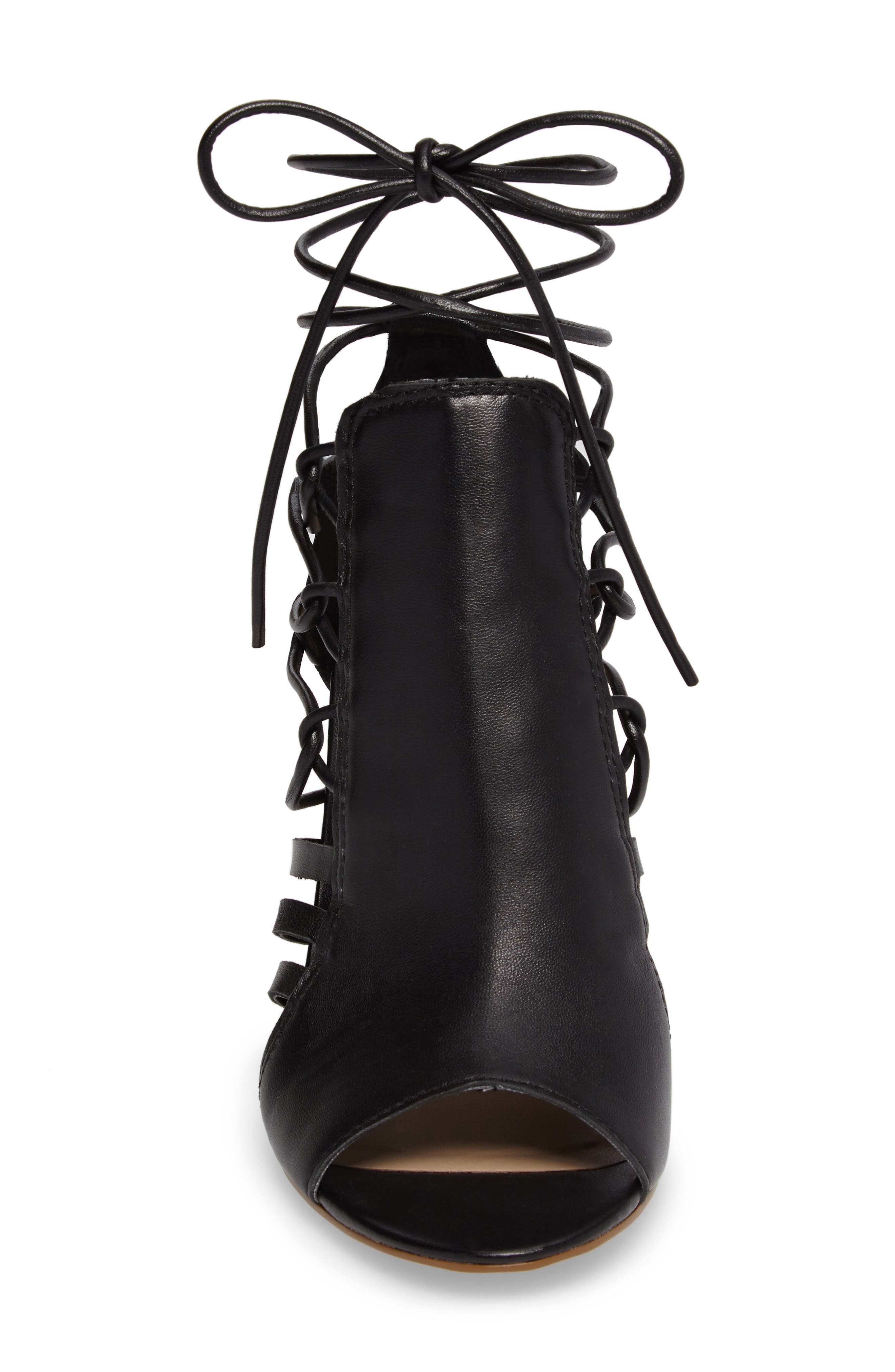 Adette Ankle Tie Sandal,                             Alternate thumbnail 4, color,                             001