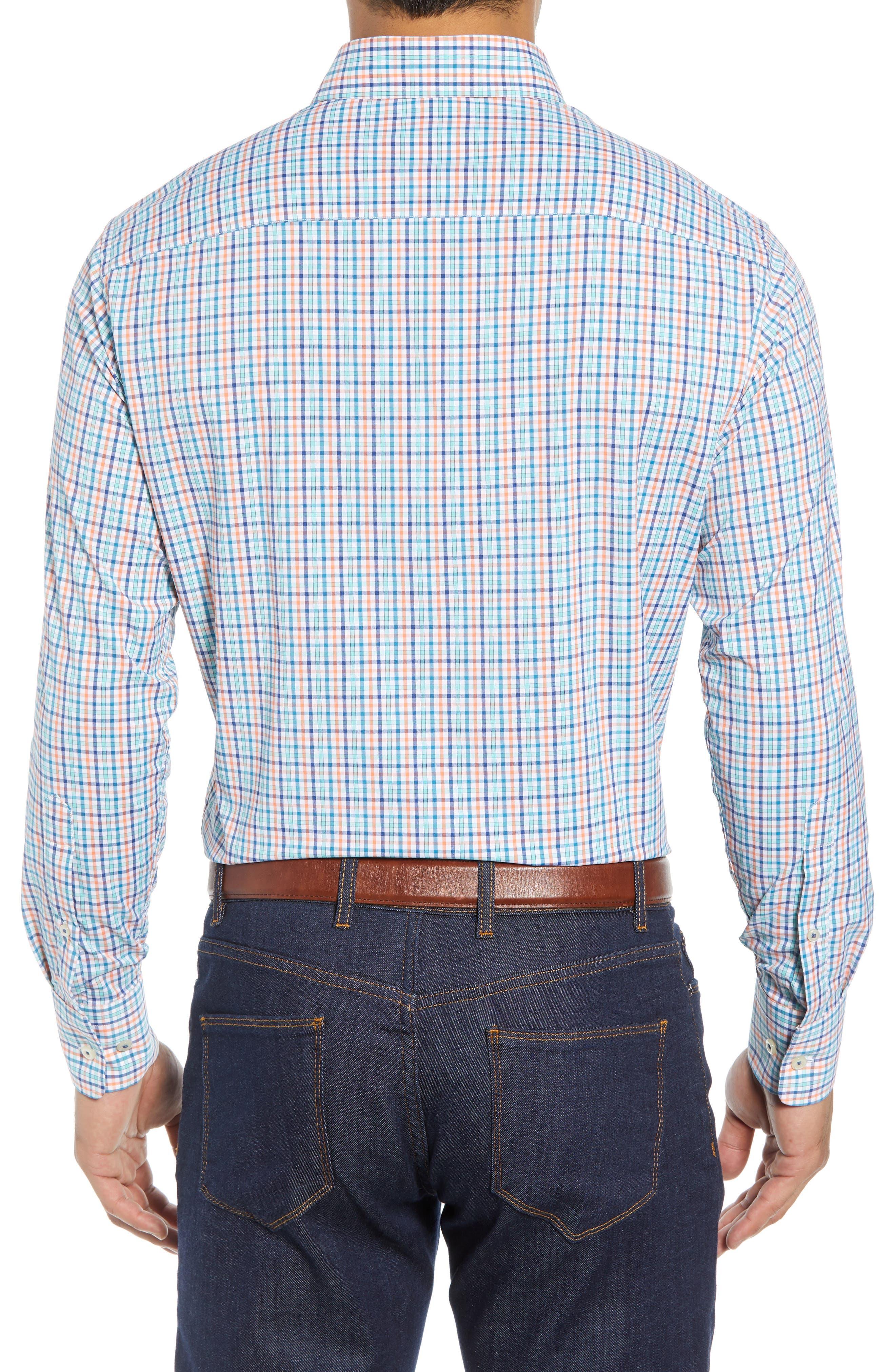 Lawson Regular Fit Tattersall Check Performance Sport Shirt,                             Alternate thumbnail 3, color,                             BLUE