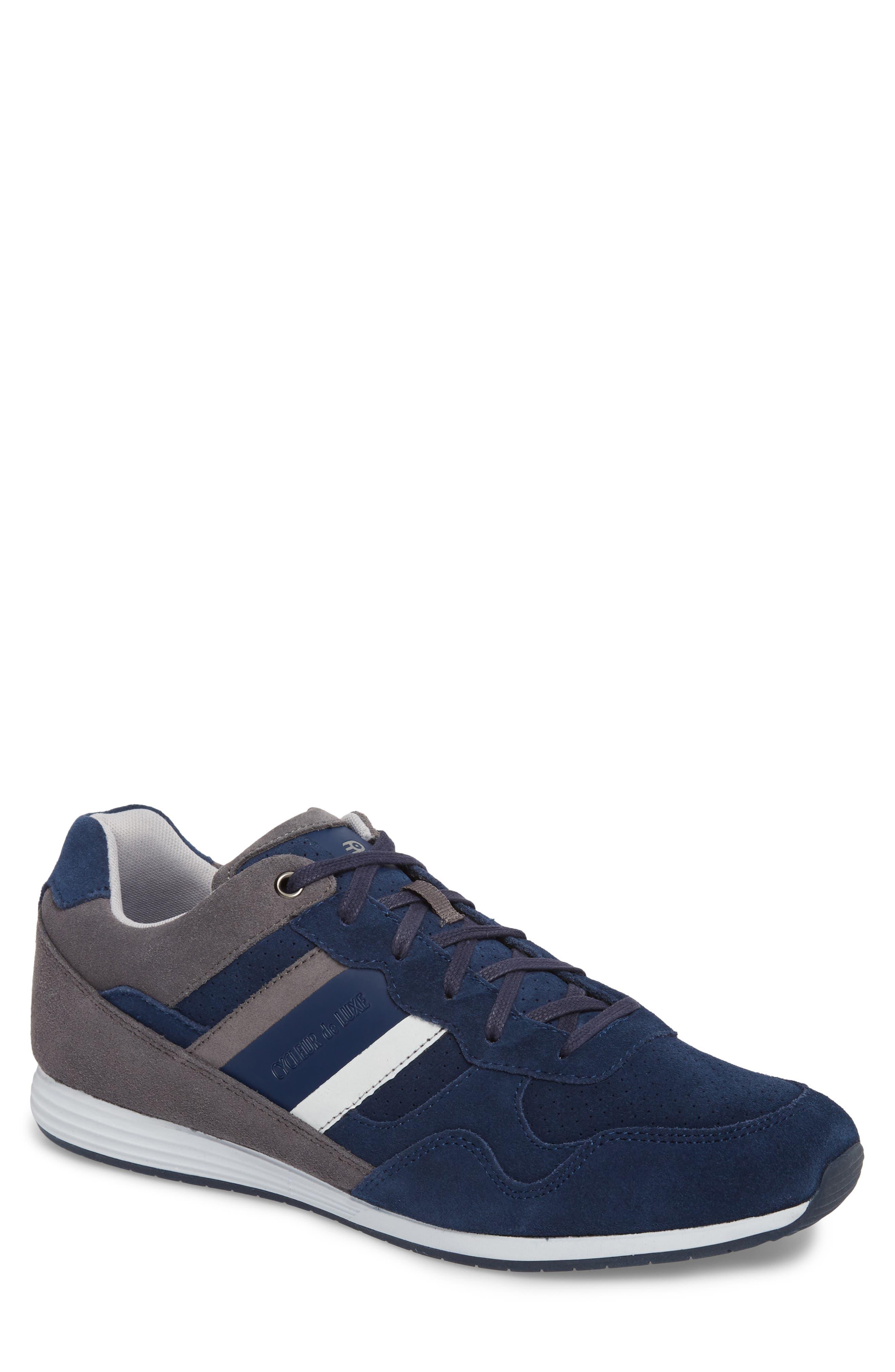 Scarpo Low Top Sneaker,                             Main thumbnail 1, color,                             NAVY SUEDE
