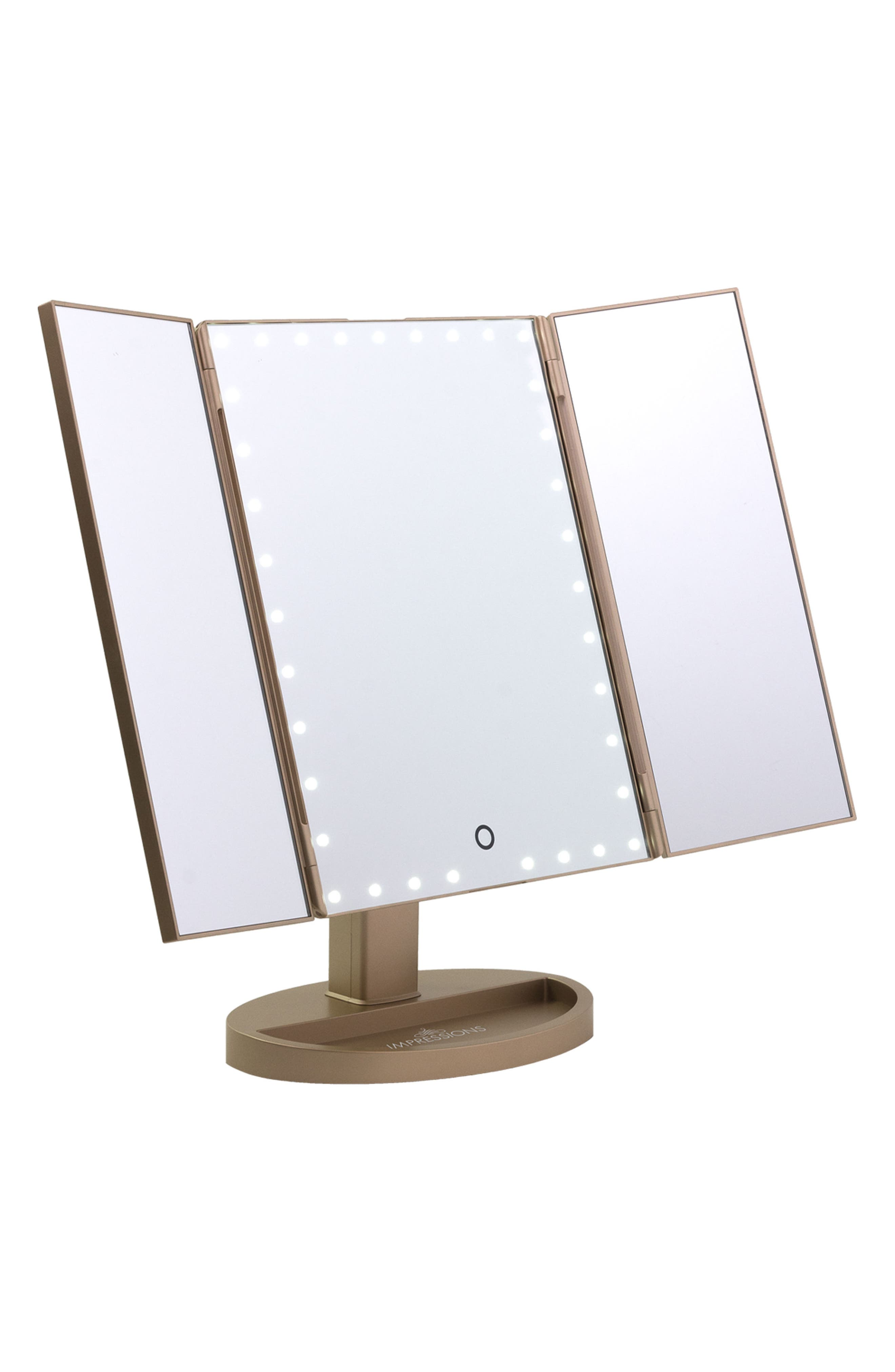 Touch Trifold XL Dimmable LED Makeup Mirror,                             Alternate thumbnail 2, color,                             CHAMPAGNE GOLD