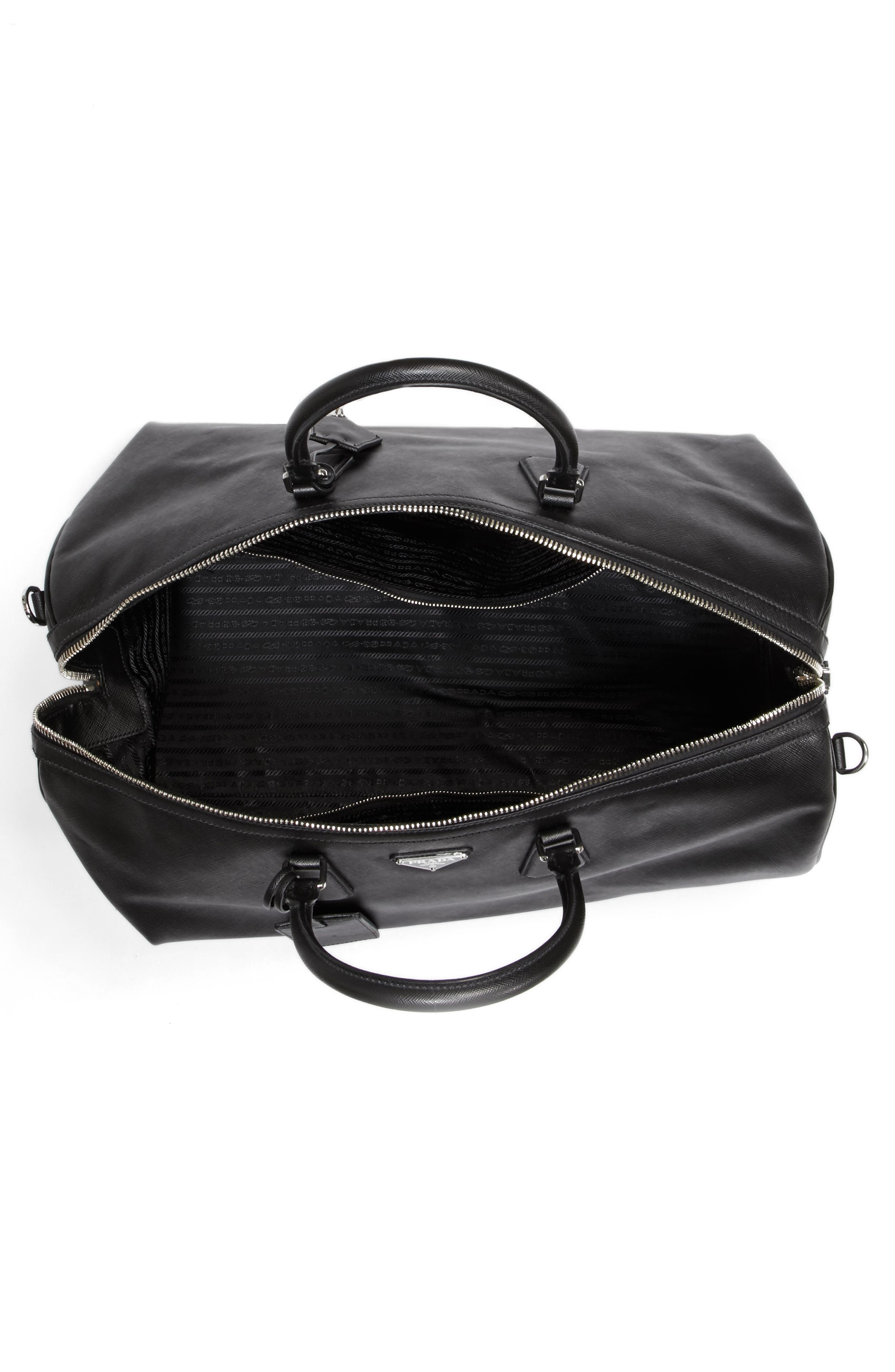 Saffiano Leather Duffel Bag,                             Alternate thumbnail 4, color,                             001