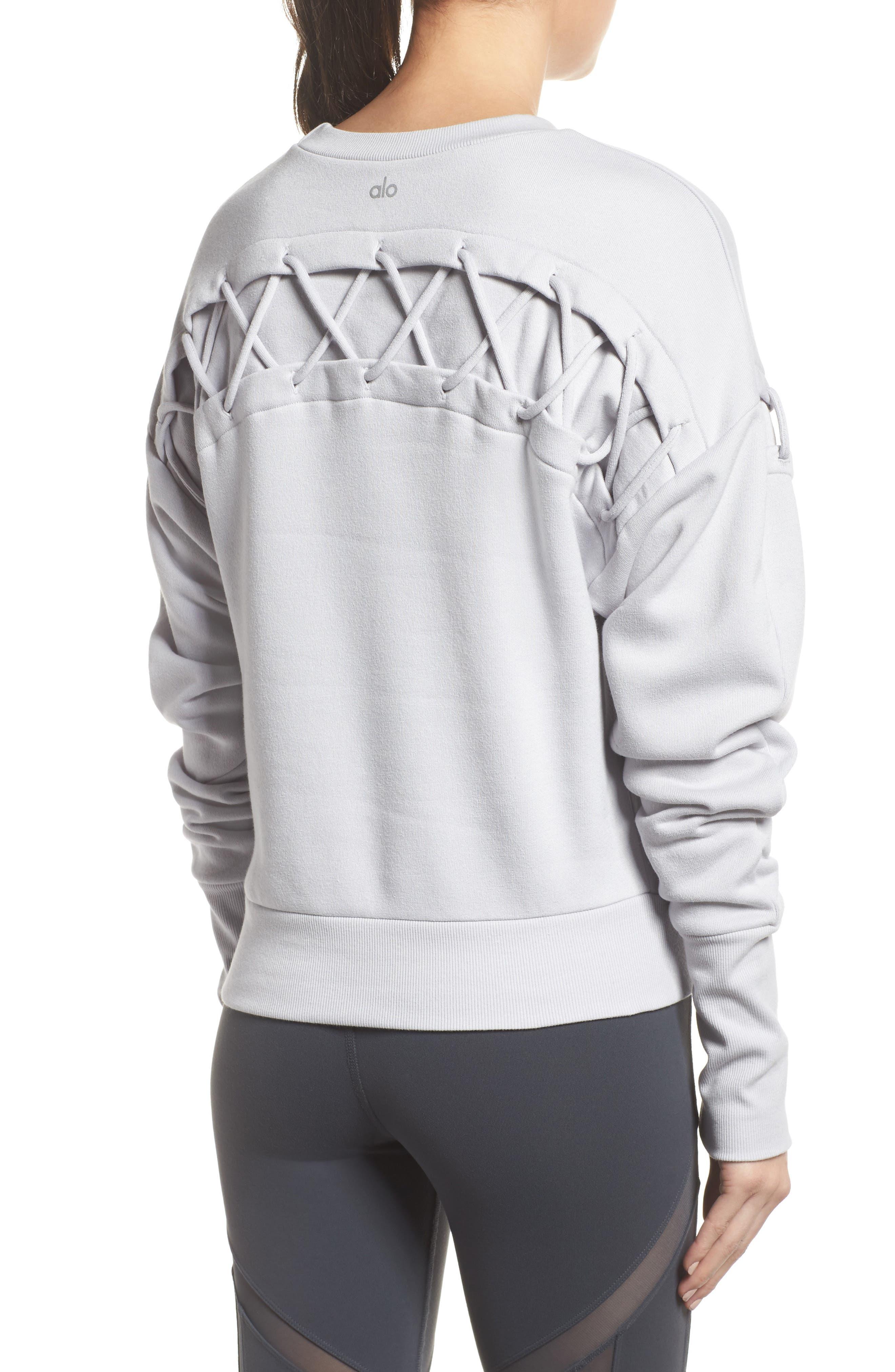 Lattice Long Sleeve Pullover,                             Alternate thumbnail 6, color,