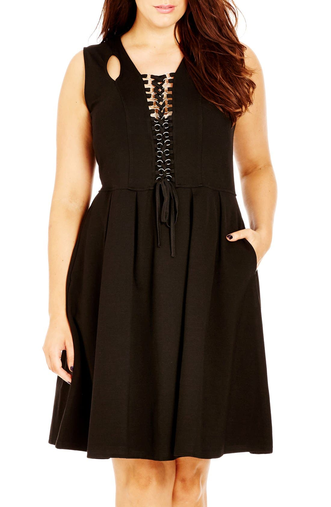 Lace-Up Fit & Flare Dress,                             Main thumbnail 1, color,