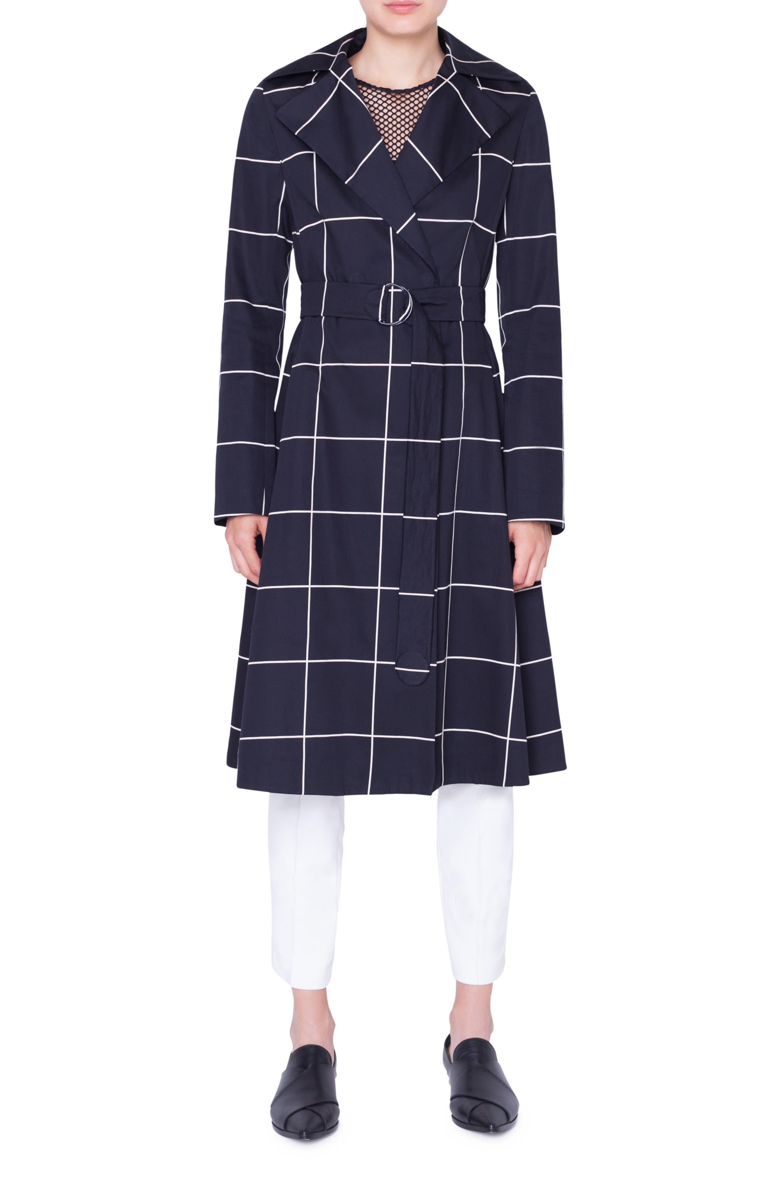 AKRIS PUNTO Grid Jacquard Trench Coat, Main, color, NERO-CREMA
