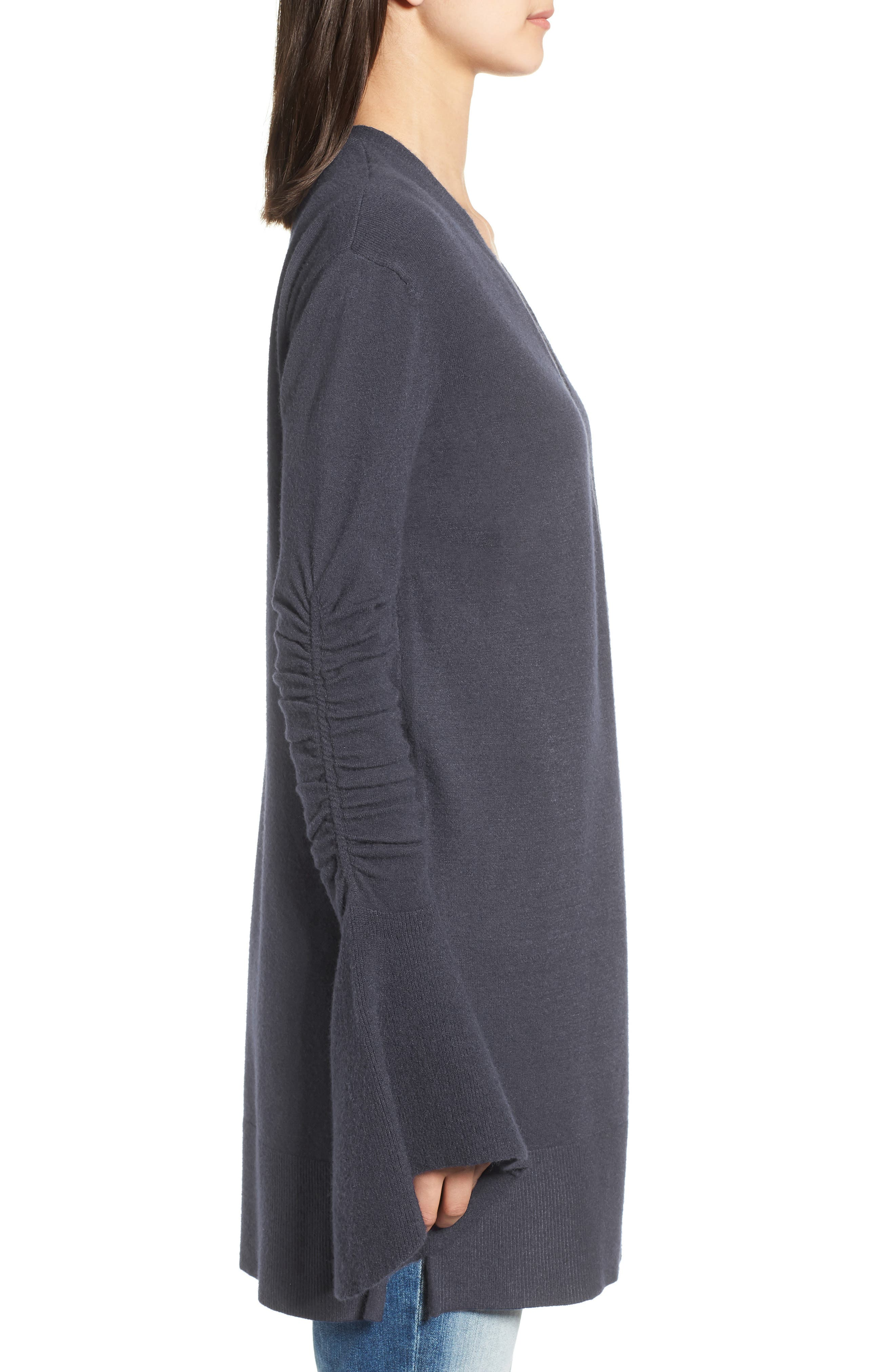 Ruched Bell Sleeve Cardigan,                             Alternate thumbnail 3, color,                             412