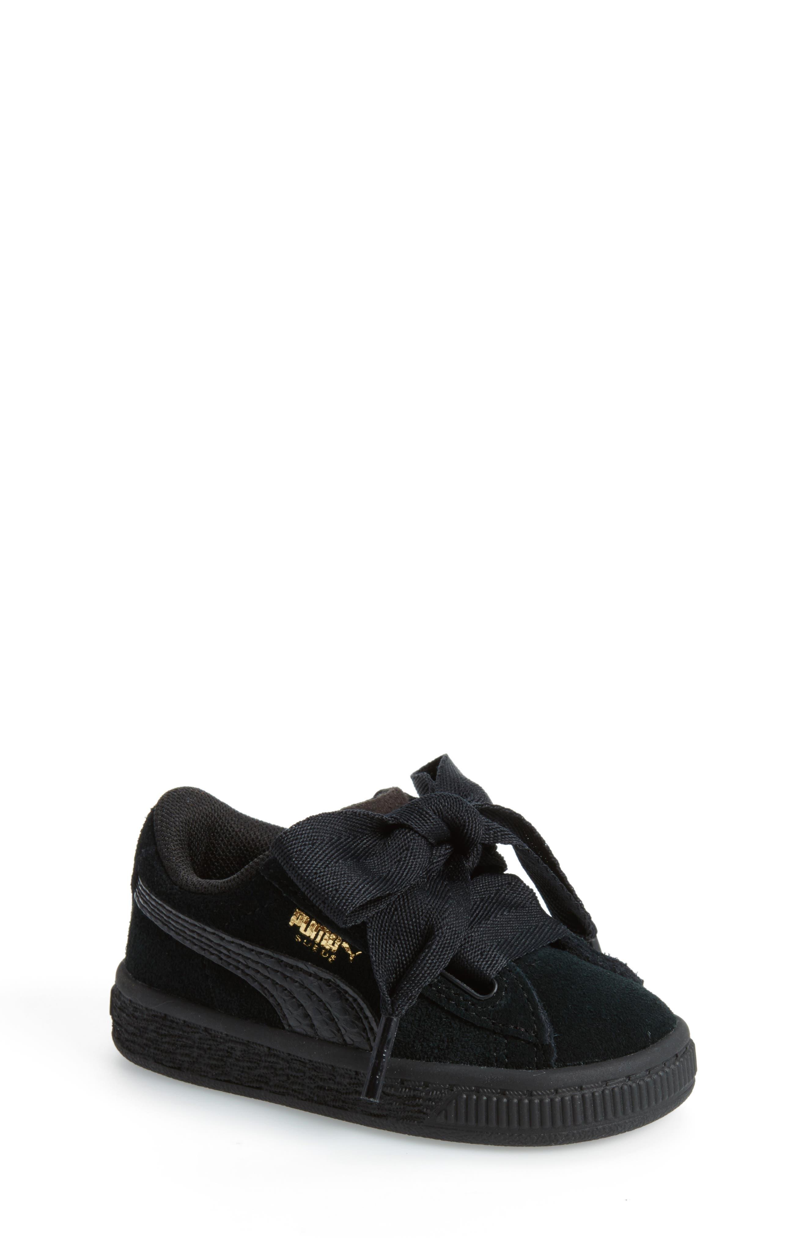 Suede Heart Sneaker,                             Main thumbnail 1, color,                             001