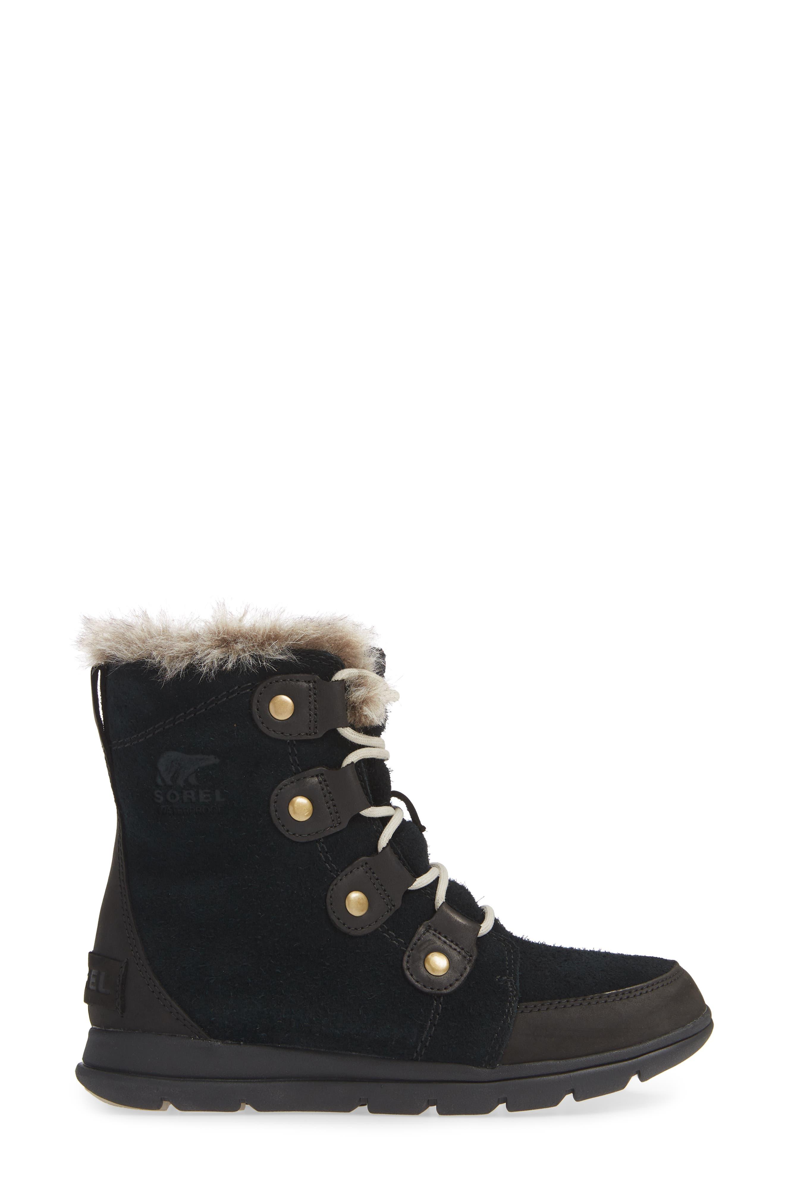 Explorer Joan Waterproof Boot with Faux Fur Collar,                             Alternate thumbnail 3, color,                             BLACK/ DARK STONE