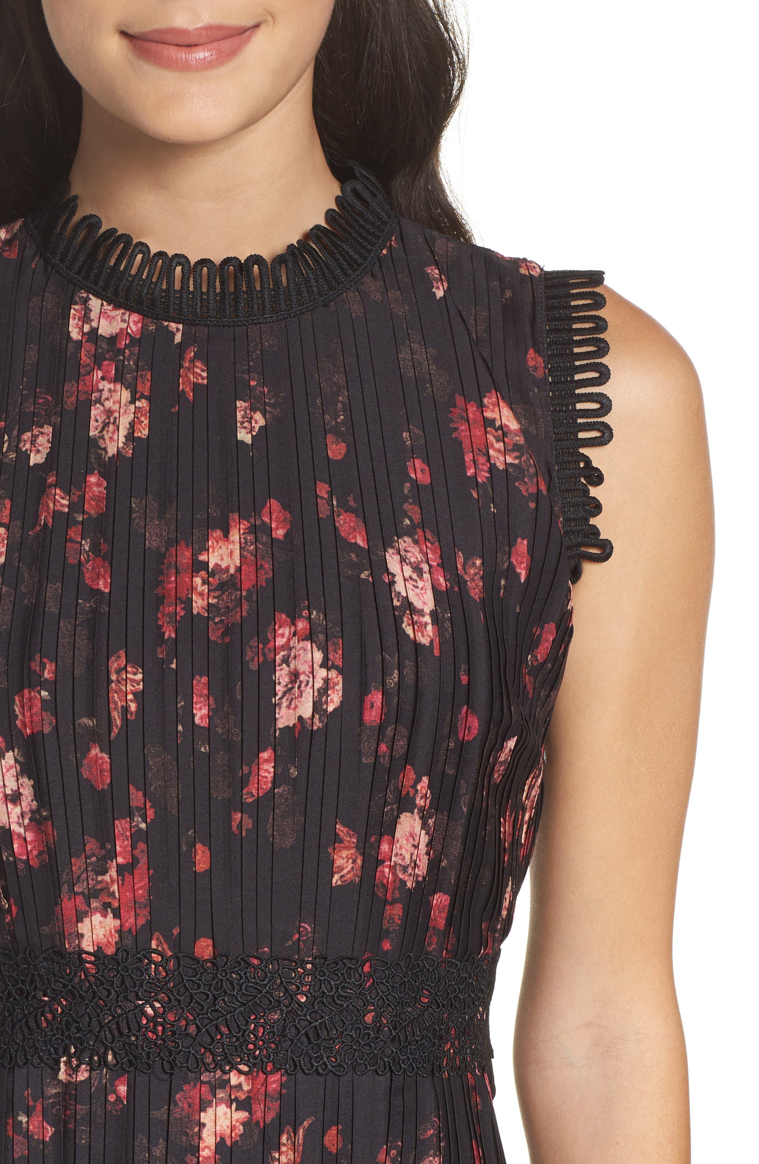 Biella Floral Midi Dress,                             Alternate thumbnail 4, color,                             016