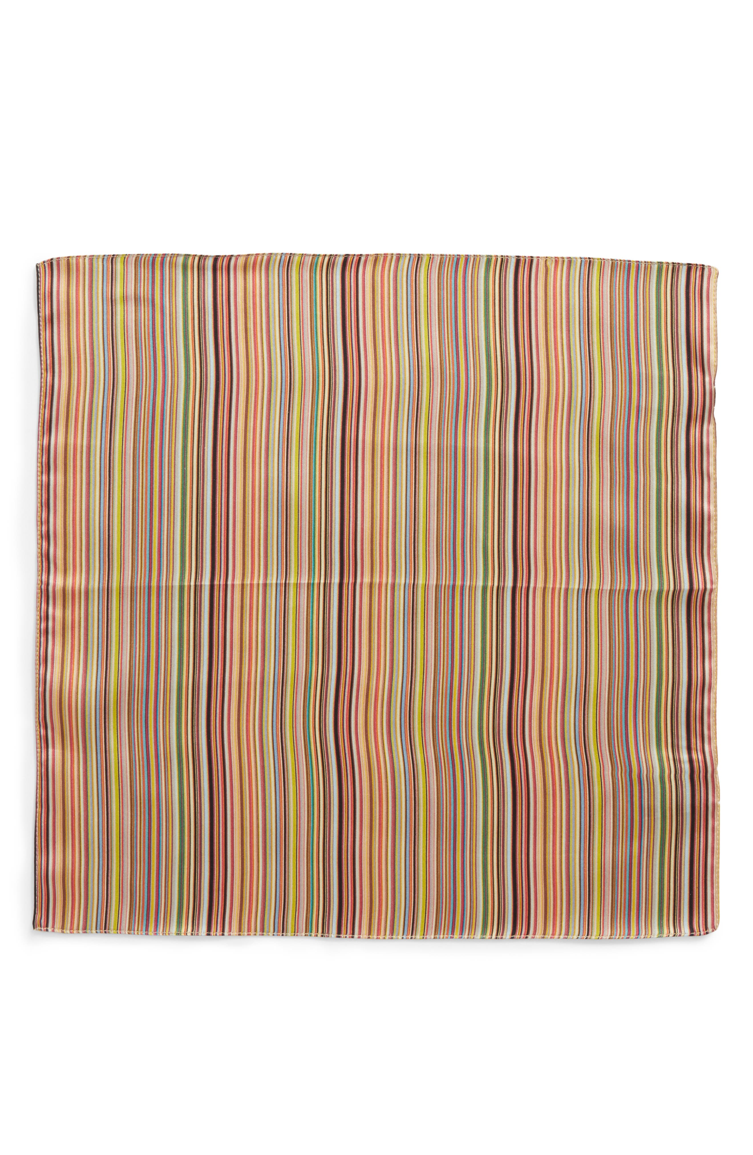 Multistripe Silk Pocket Square,                             Alternate thumbnail 2, color,                             PINK MULTI