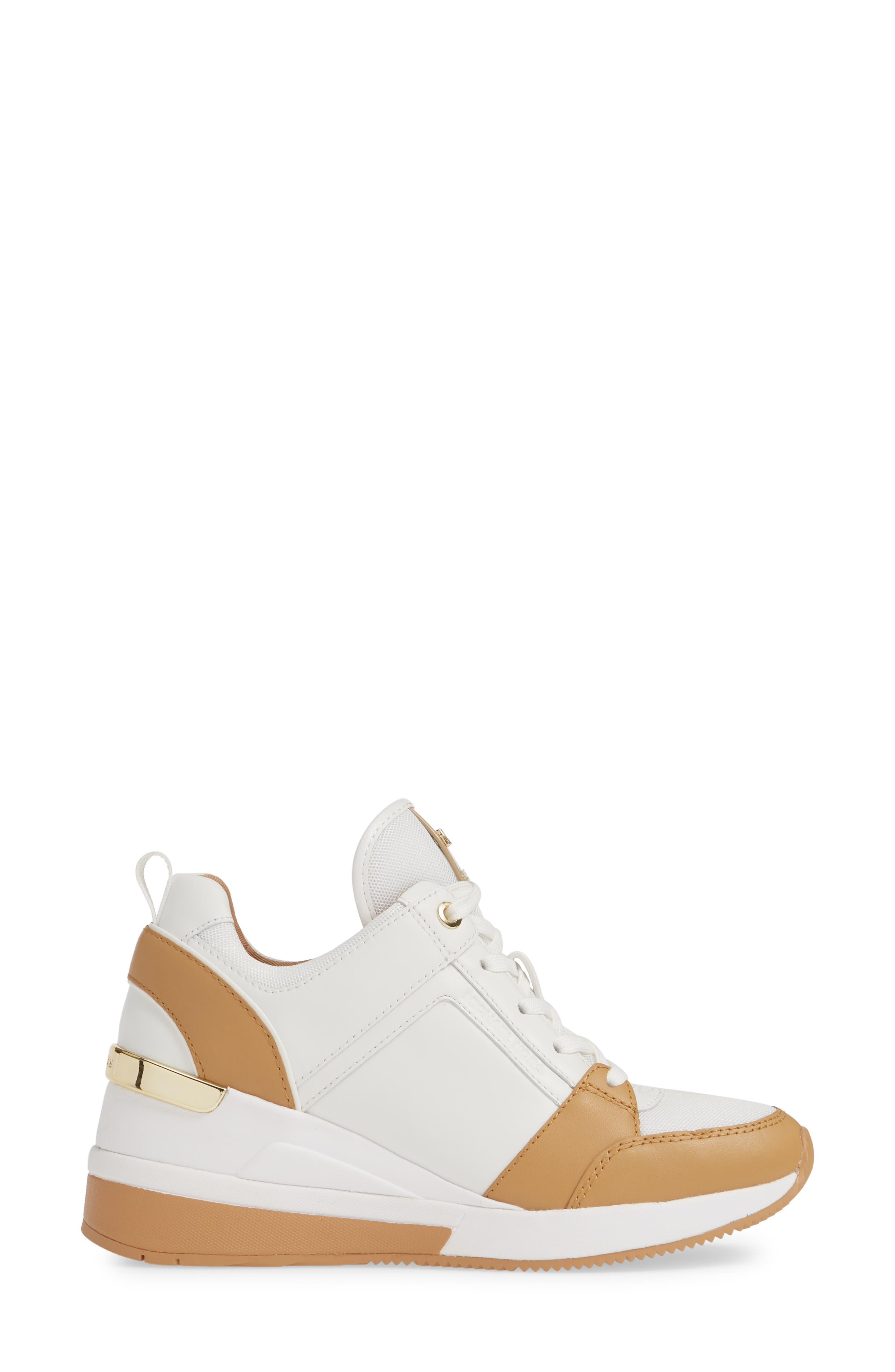 MICHAEL MICHAEL KORS,                             Georgie Wedge Sneaker,                             Alternate thumbnail 3, color,                             OPTIC WHITE MULTI