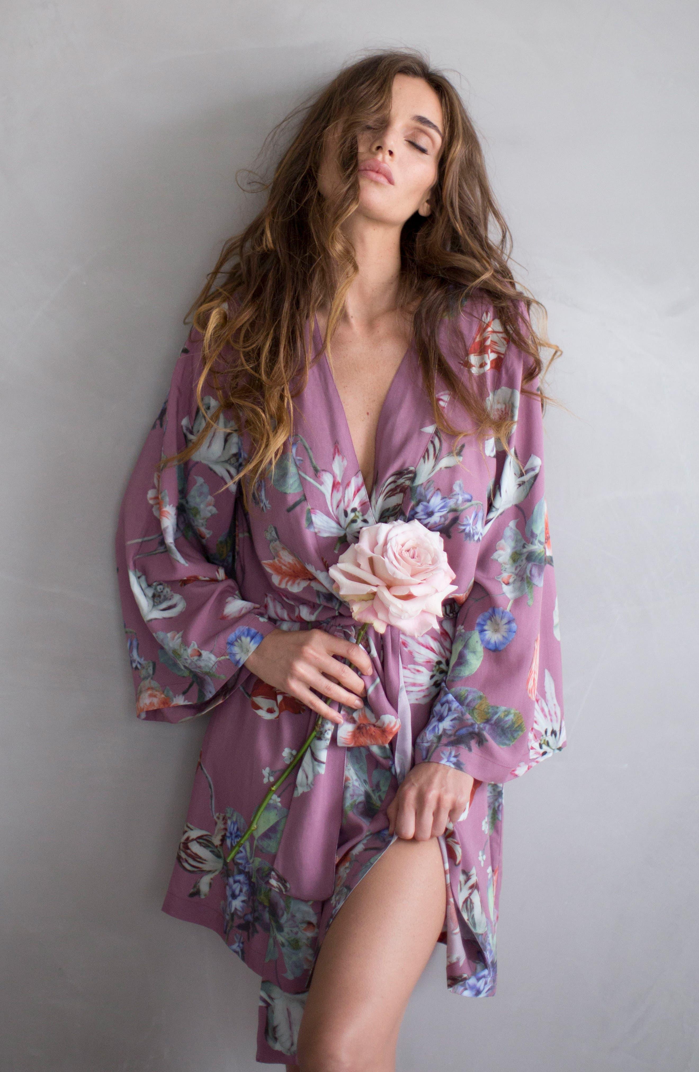 Floral Kimono Robe,                             Alternate thumbnail 6, color,