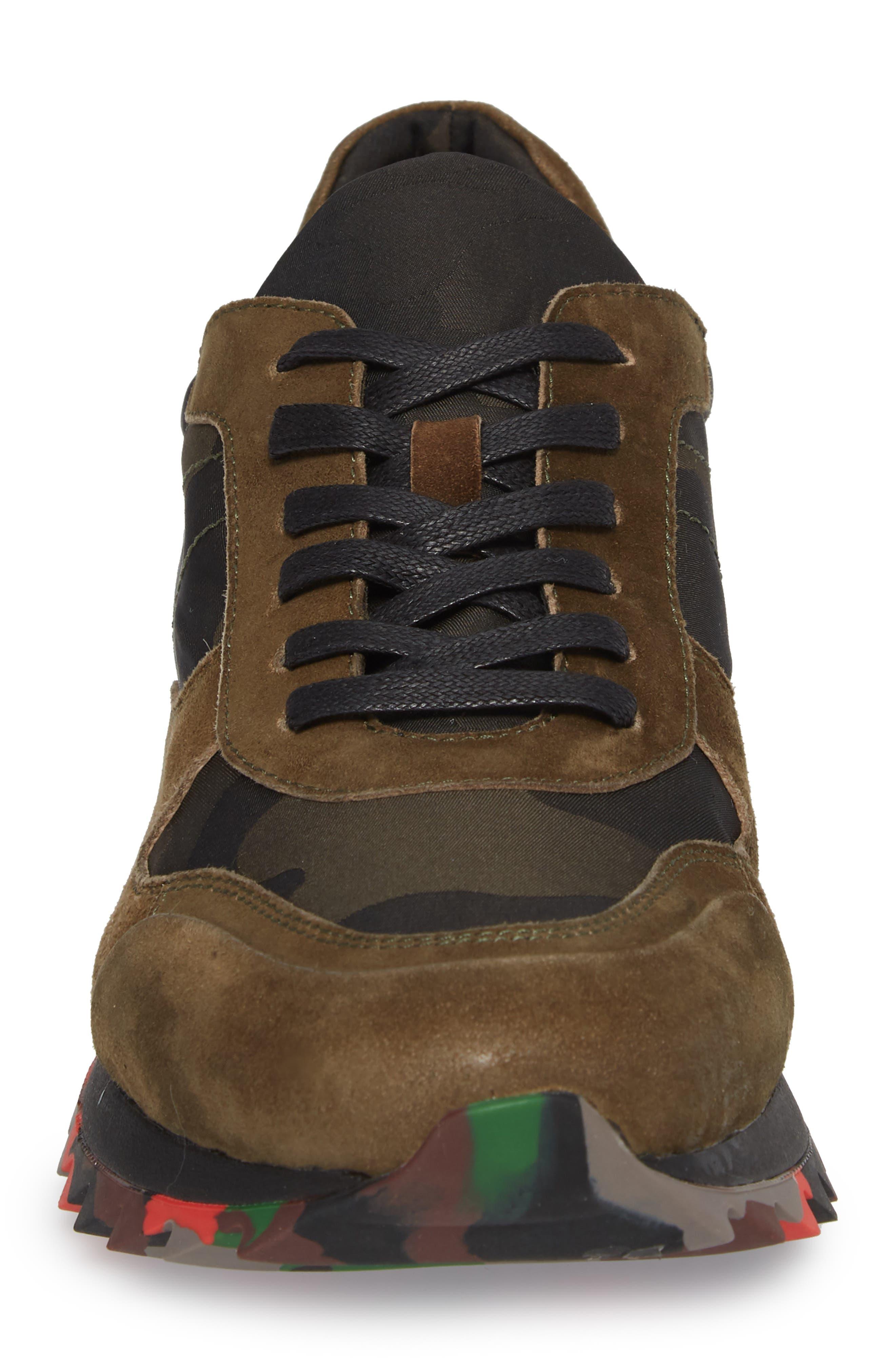 Camo Print Sneaker,                             Alternate thumbnail 4, color,                             OLIVE