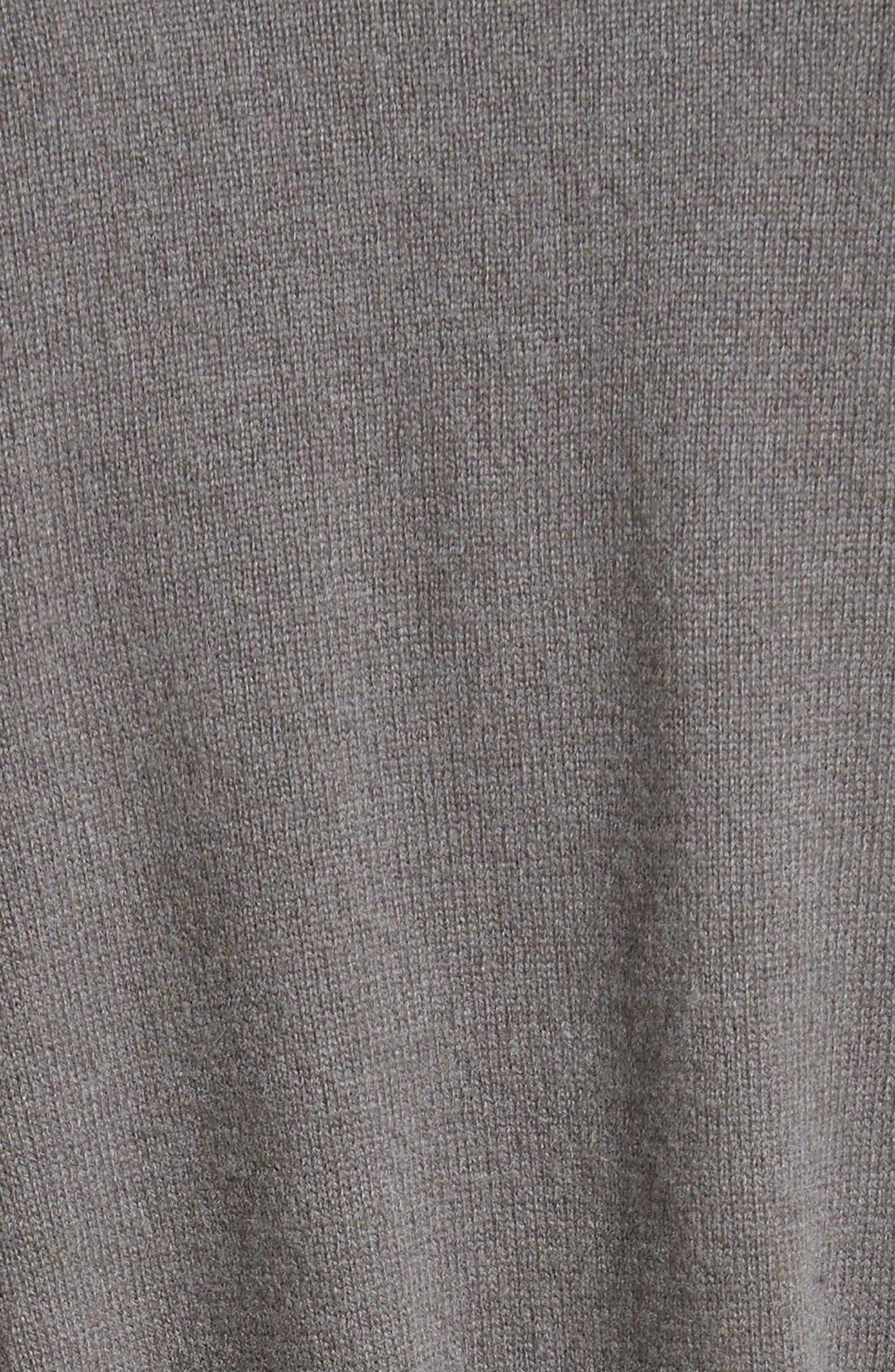 Suede Trim Wool, Silk & Cashmere Cardigan,                             Alternate thumbnail 5, color,                             030
