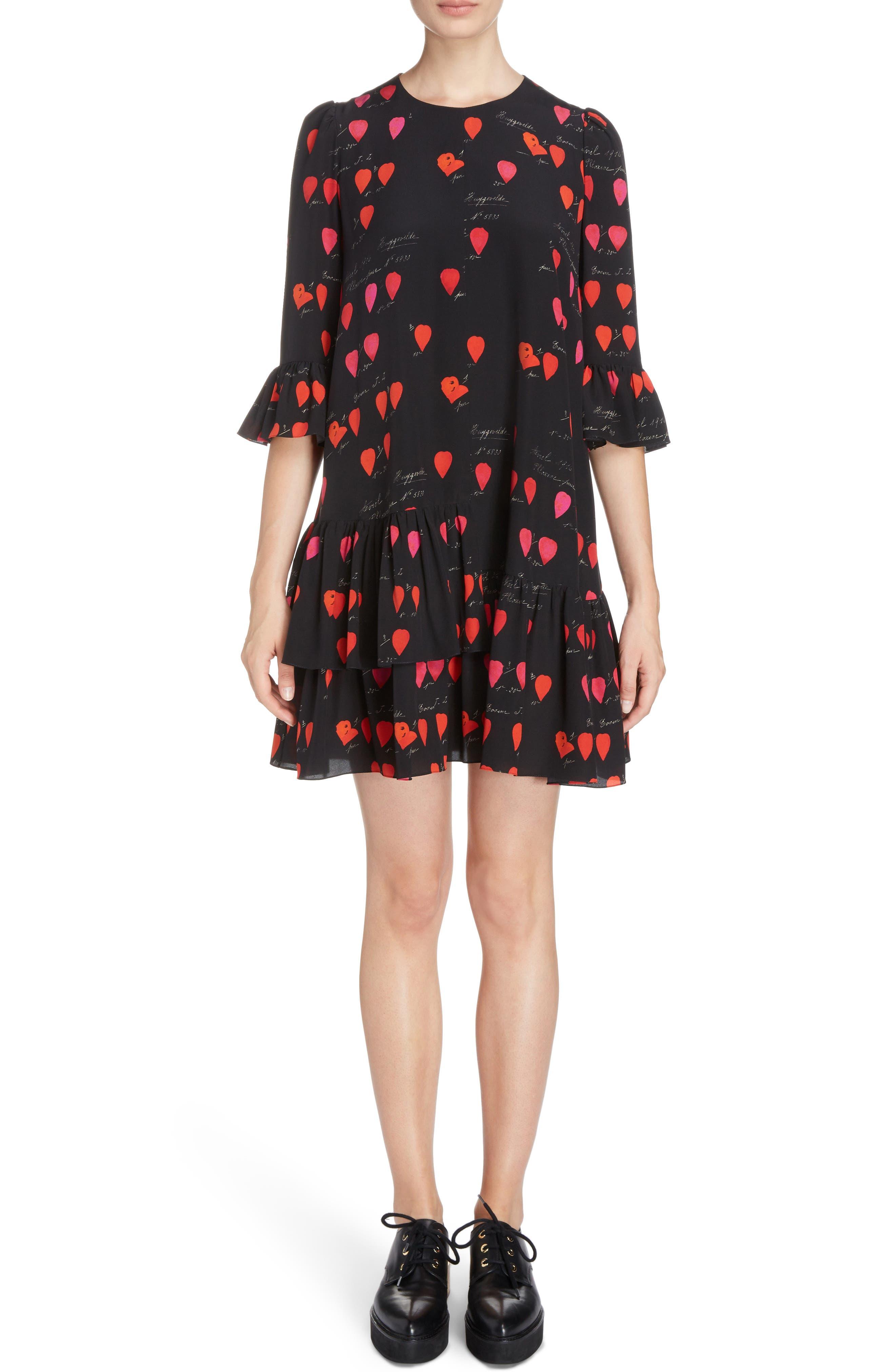 Petal Print Silk Ruffle Dress,                             Main thumbnail 1, color,                             007