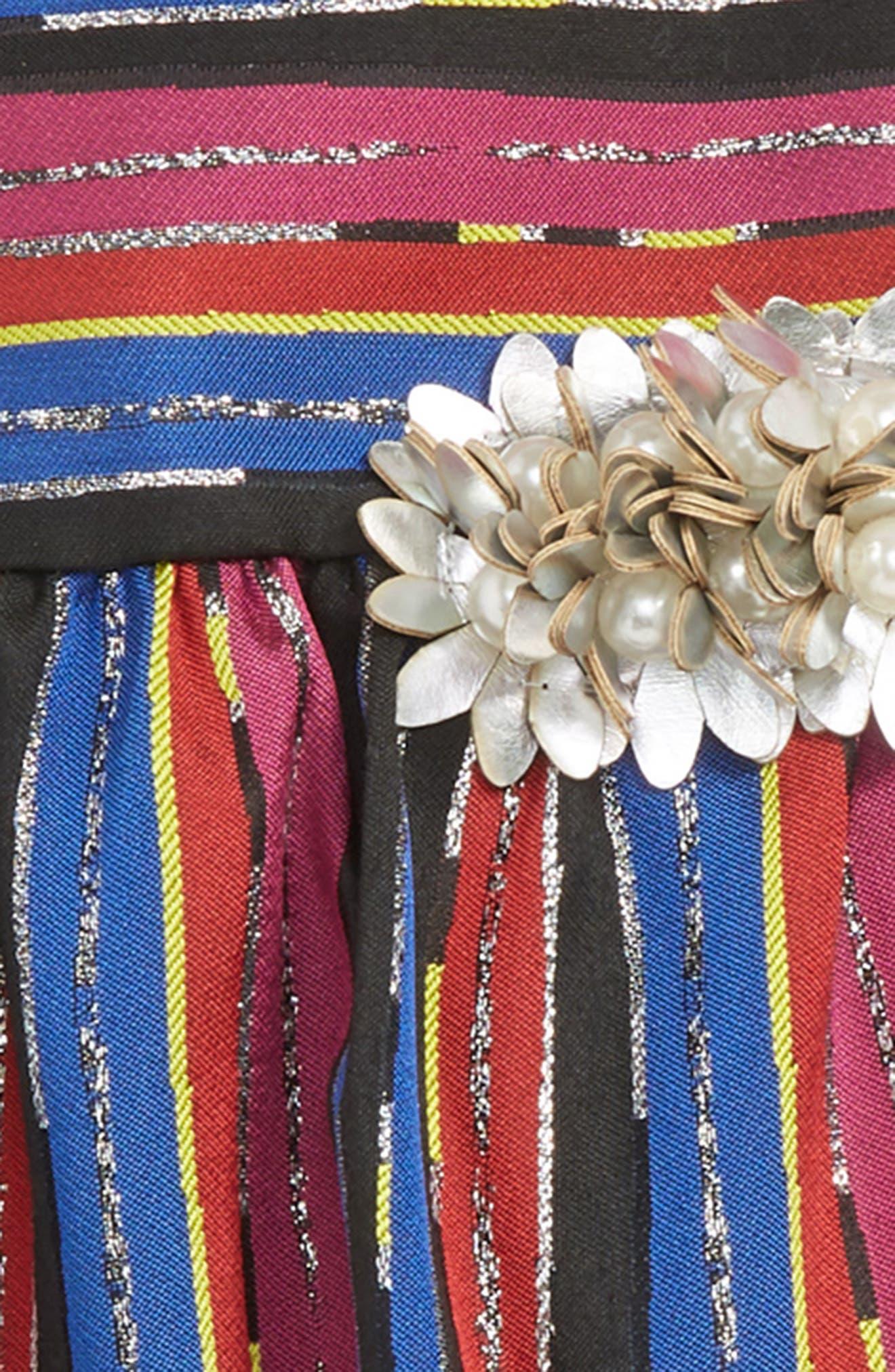 PIPPA & JULIE,                             Stripe Brocade Dress,                             Alternate thumbnail 2, color,                             BLUE MULTI