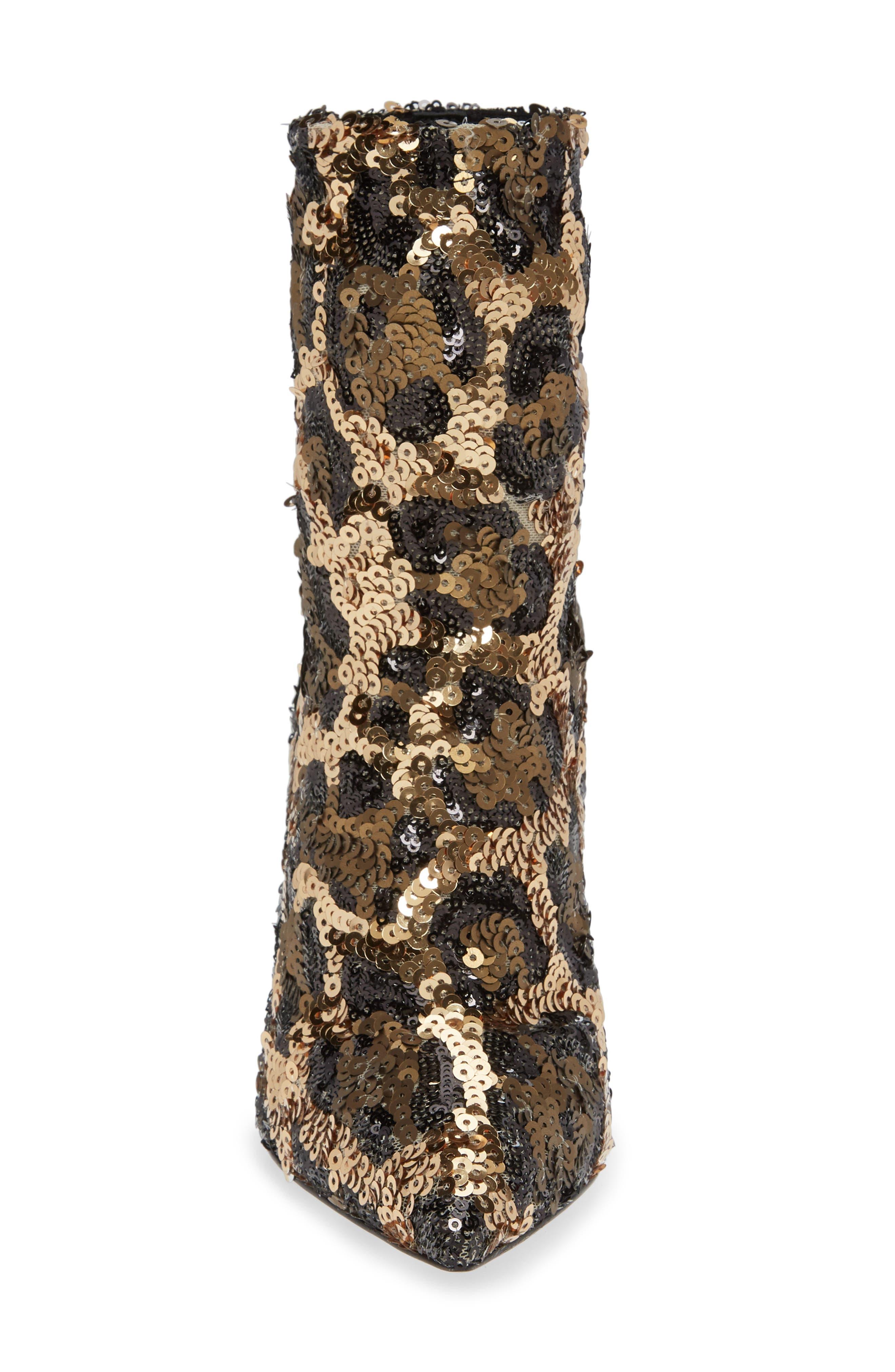 Leopard Sequin Bootie,                             Alternate thumbnail 4, color,                             LEOPARD