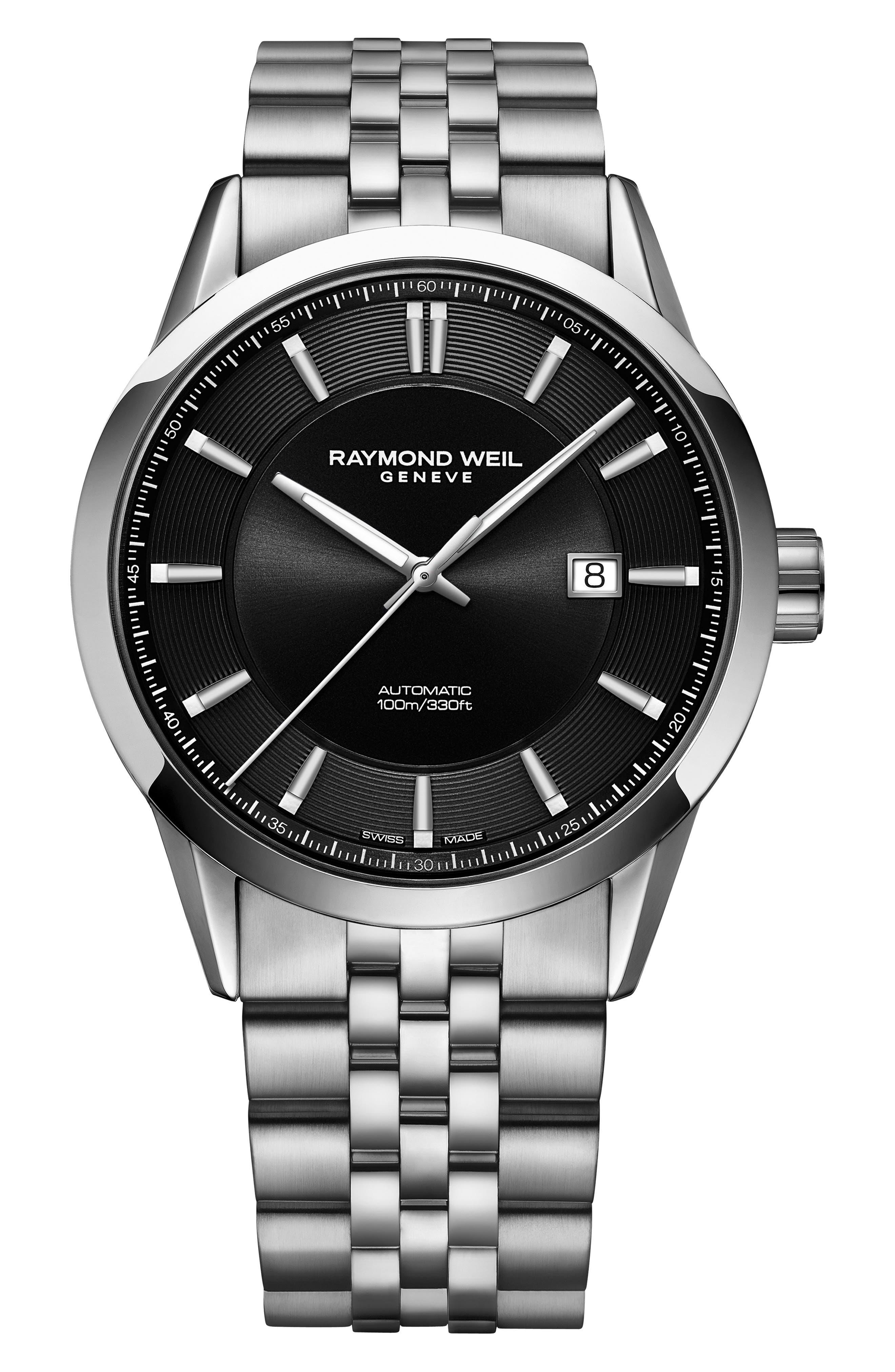 Freelancer Automatic Bracelet Watch, 43mm,                             Main thumbnail 1, color,                             SILVER/ BLACK/ SILVER
