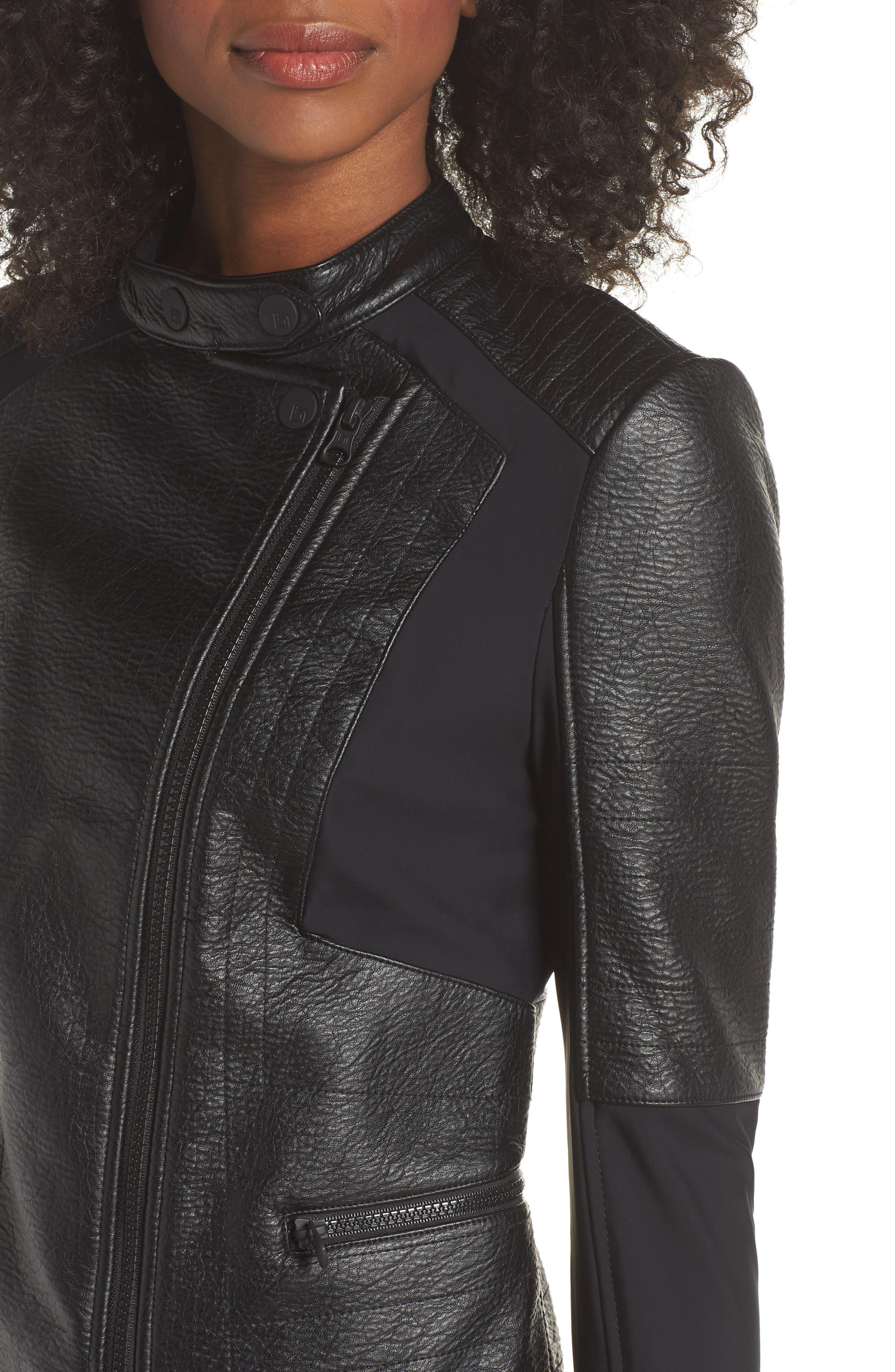 Ryder Faux Leather Moto Jacket,                             Alternate thumbnail 4, color,                             BLACK/ GREY