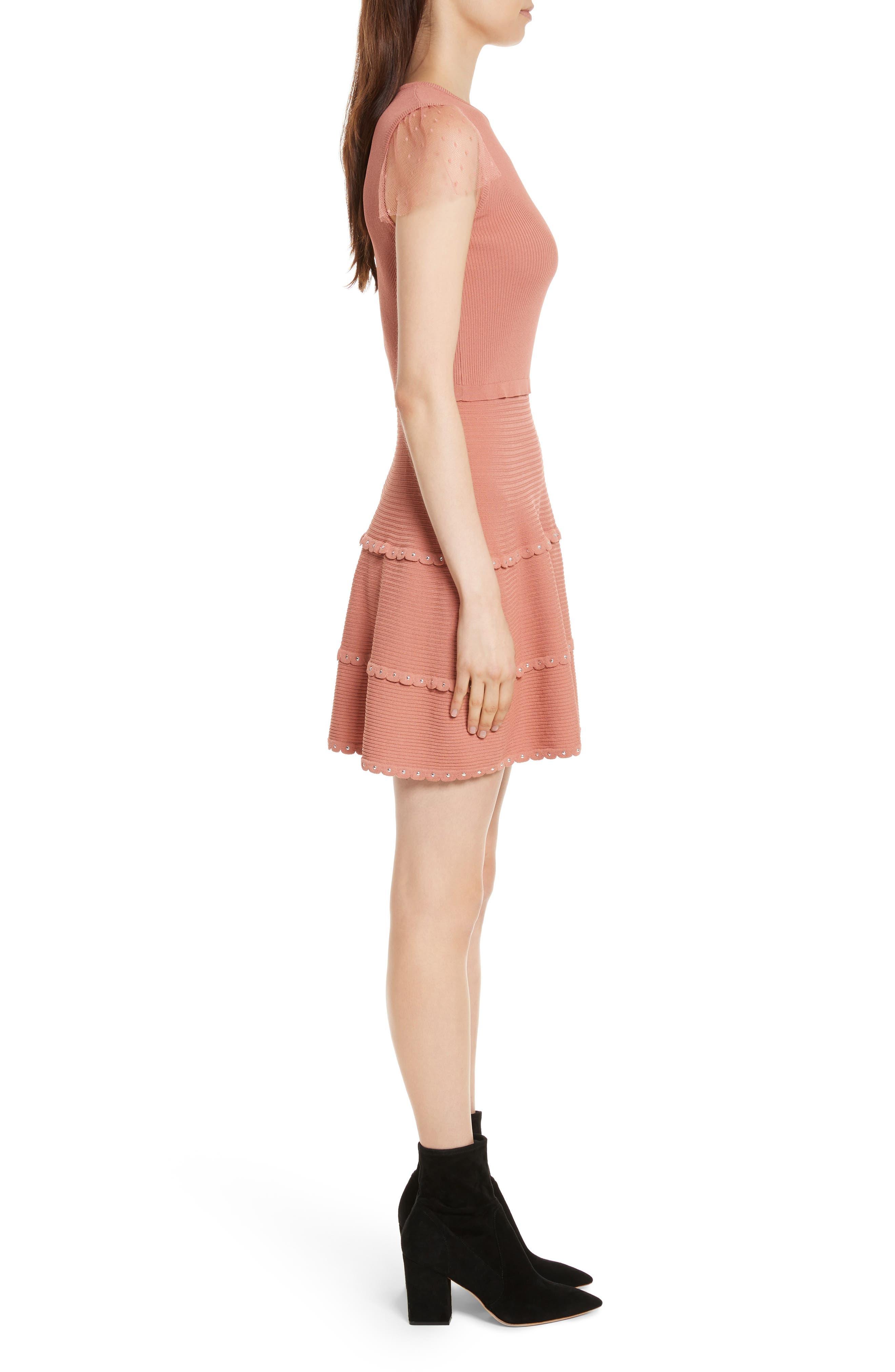 Scallop Stretch Knit Dress,                             Alternate thumbnail 3, color,