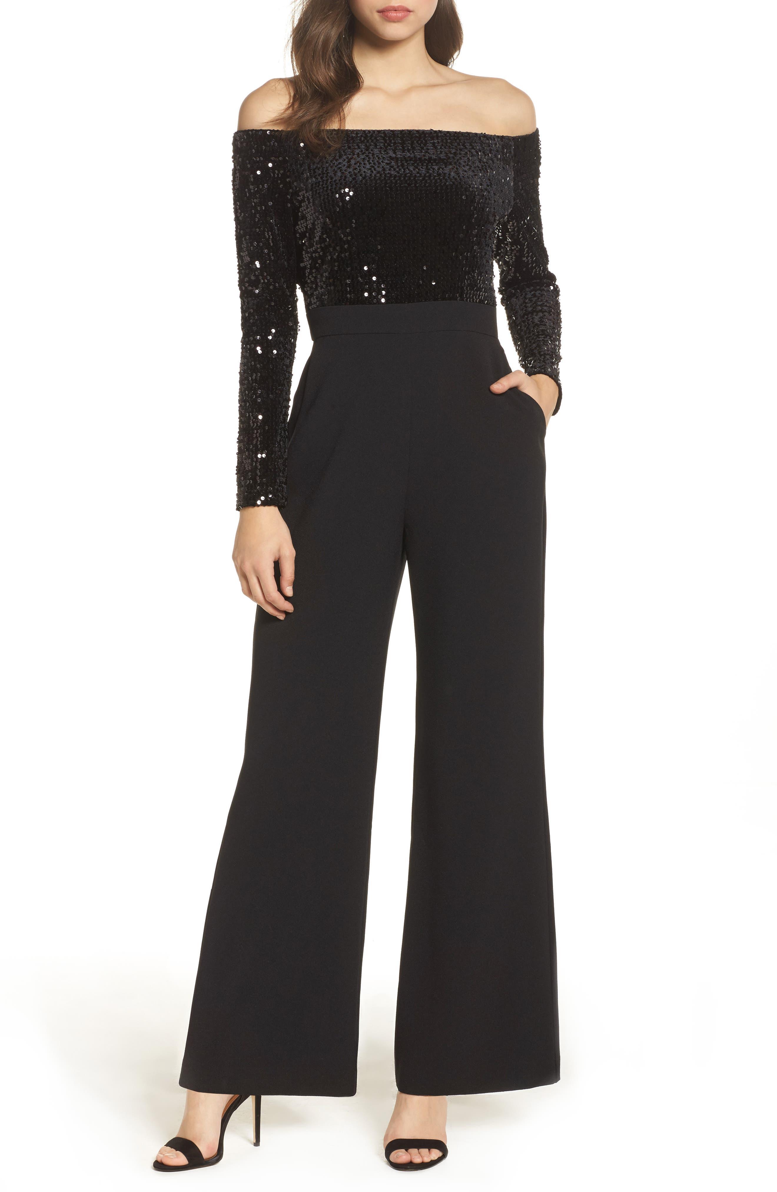 ELIZA J,                             Off the Shoulder Wide Leg Jumpsuit,                             Main thumbnail 1, color,                             BLACK
