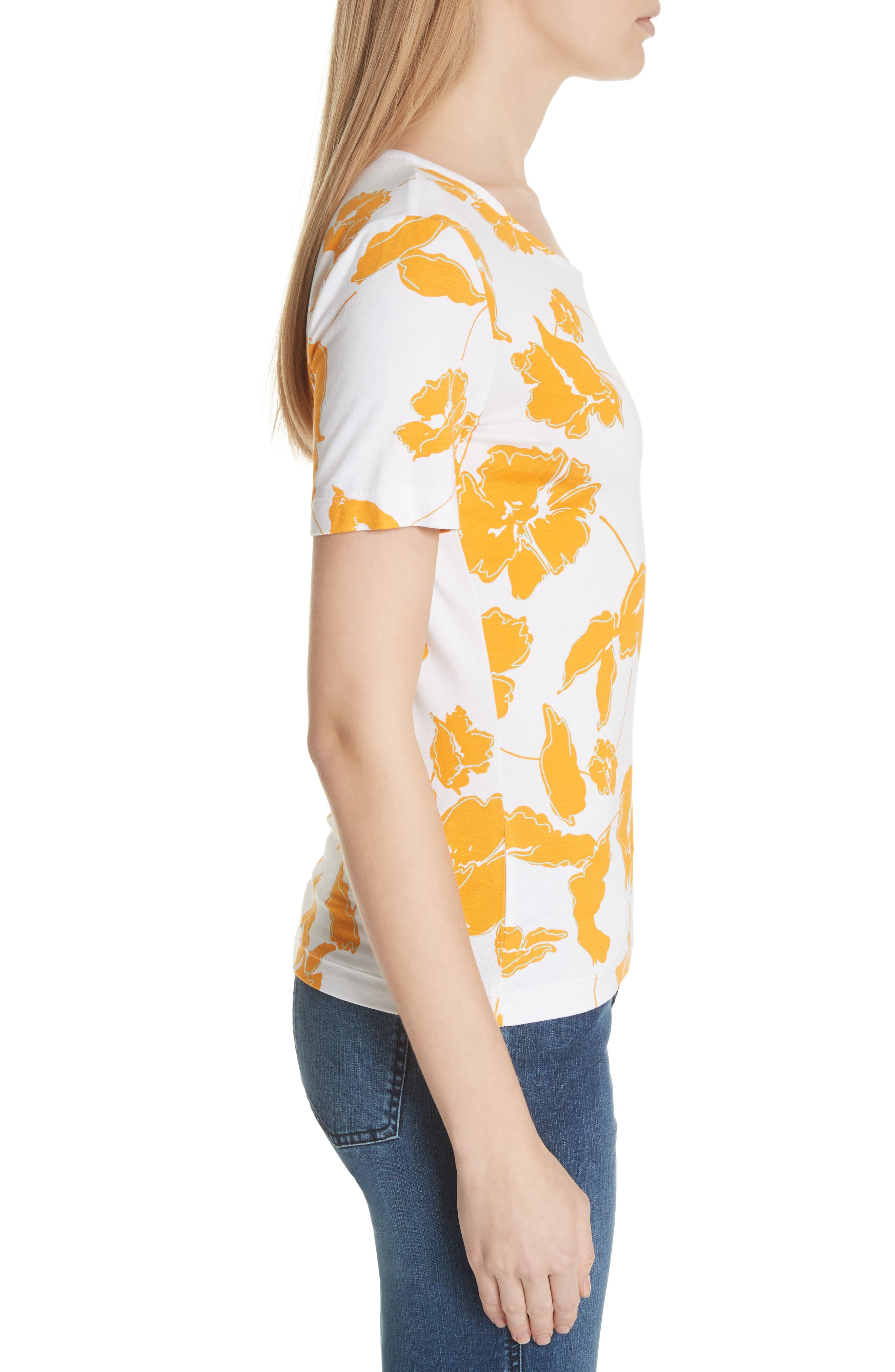 Painted Floral Jersey Tee,                             Alternate thumbnail 3, color,                             MANGO MULTI
