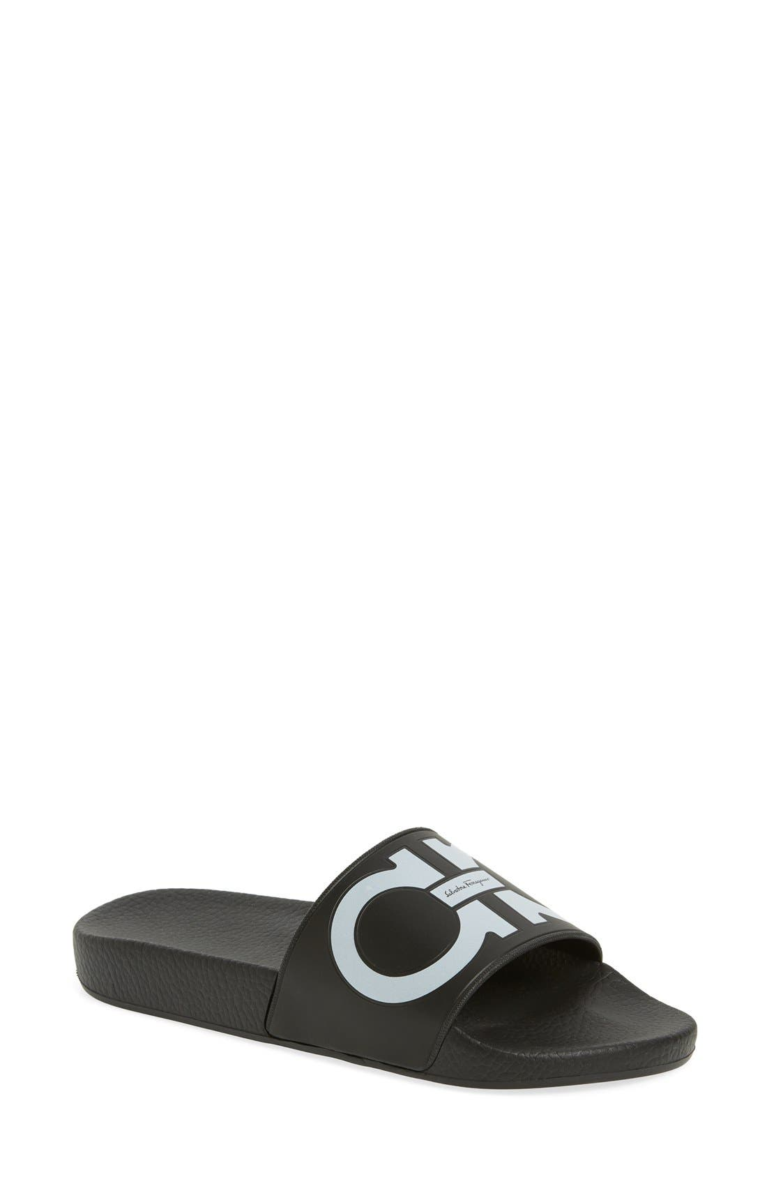 Groove Logo Slide Sandal,                             Main thumbnail 1, color,                             001
