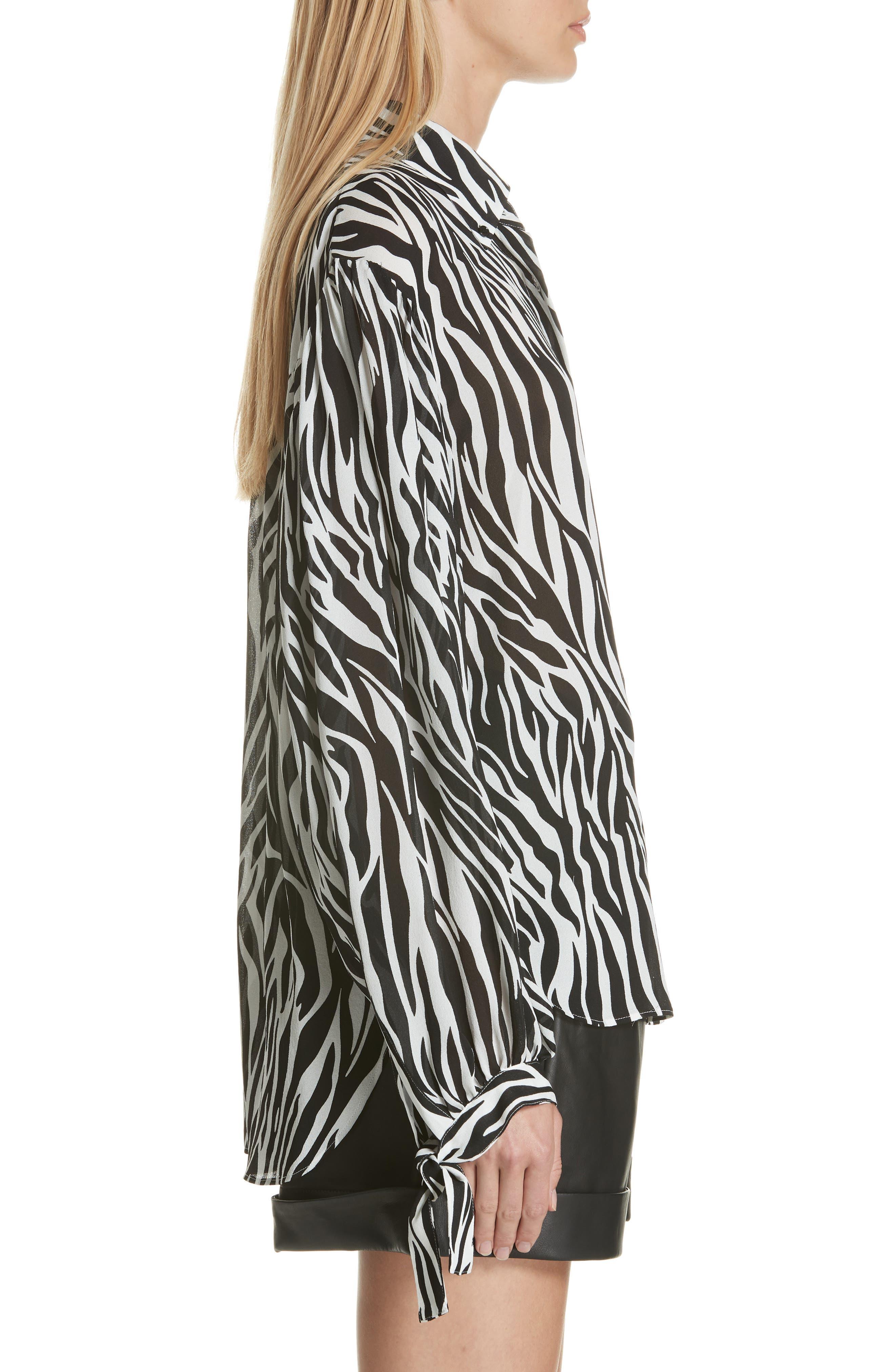 Zebra Print Tie Cuff Blouse,                             Alternate thumbnail 3, color,                             001