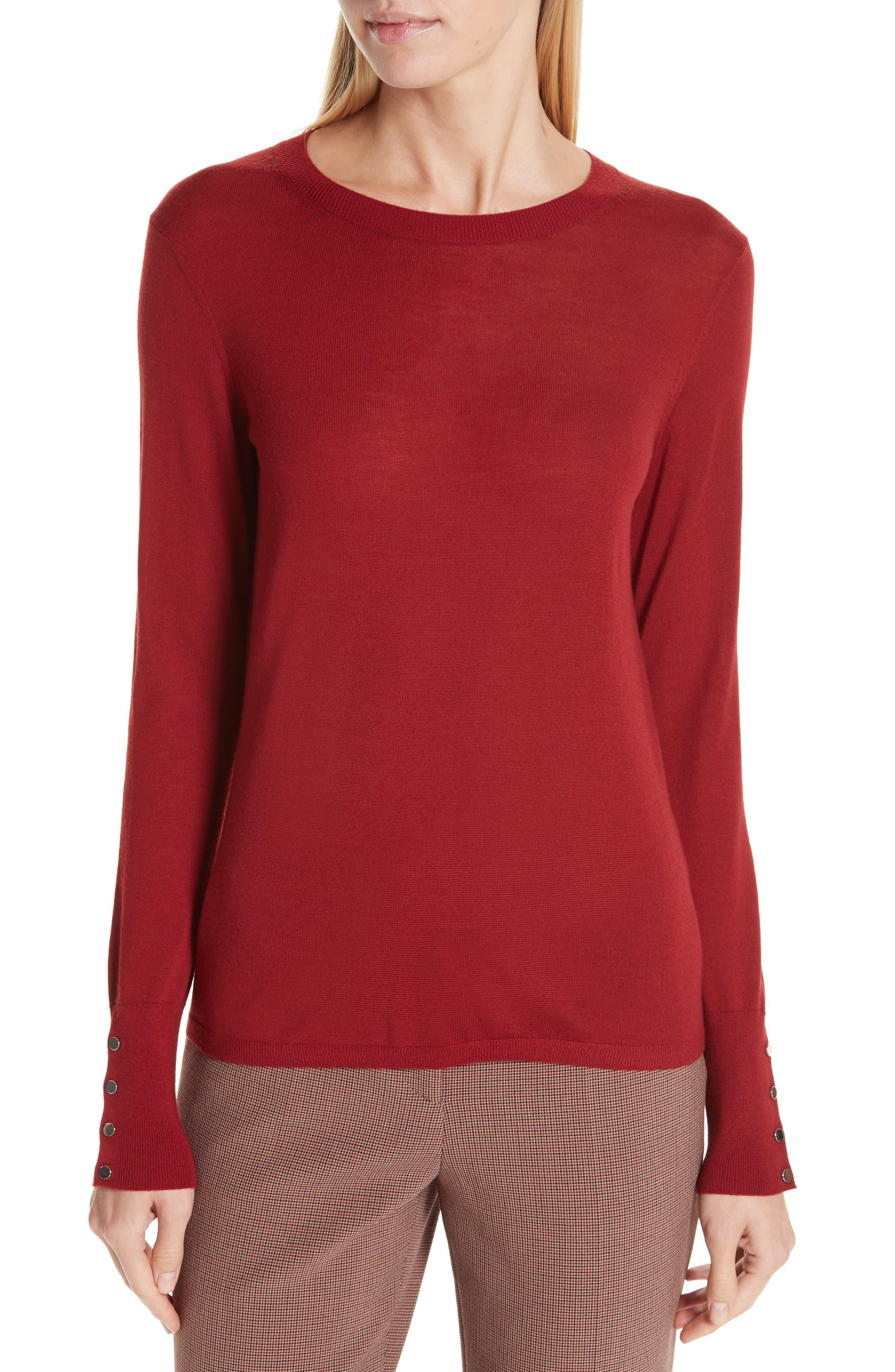 Frankie Cuff Detail Wool Sweater,                         Main,                         color, DARK RED