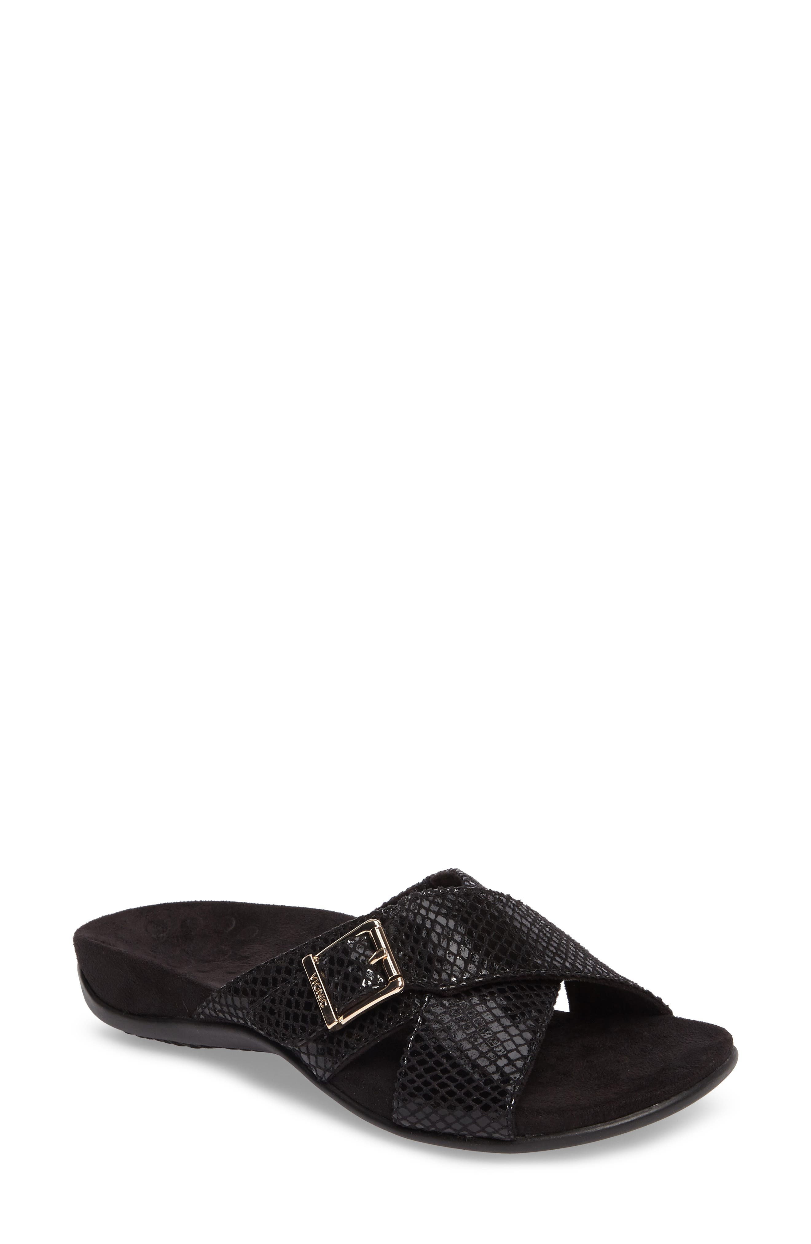 Dorie Cross Strap Slide Sandal,                             Main thumbnail 1, color,                             BLACK SNAKE FAUX LEATHER