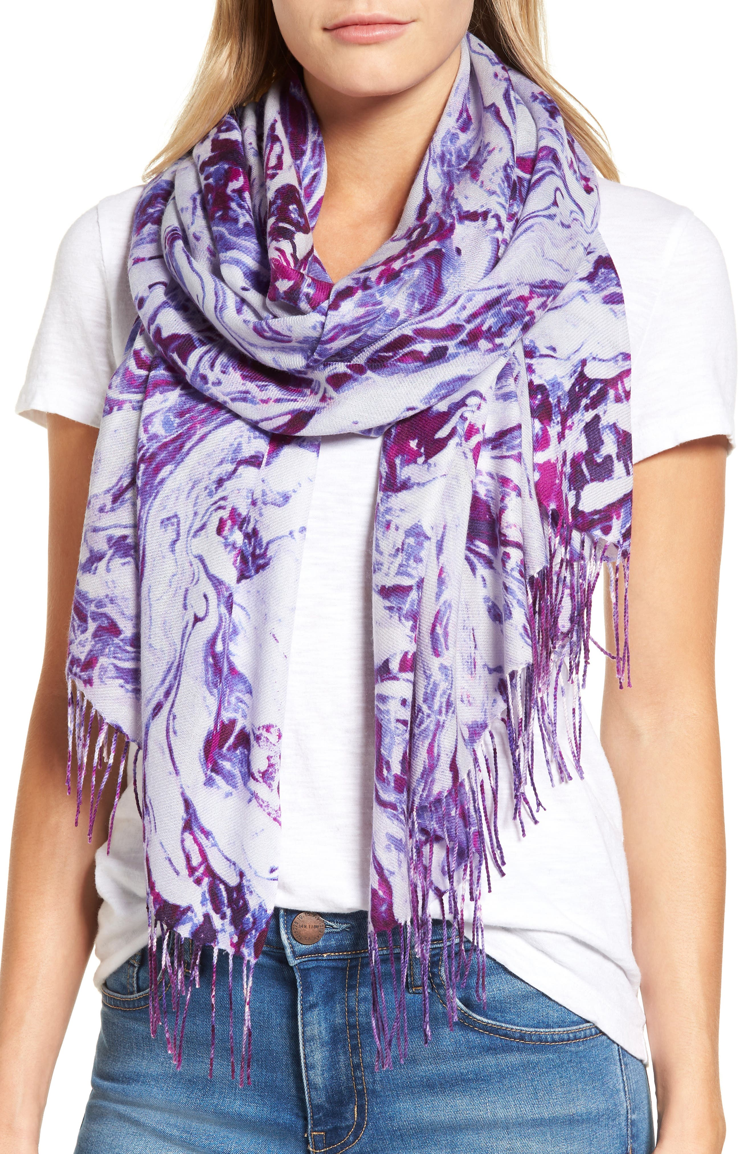 Marble Tissue Wool & Cashmere Scarf,                             Main thumbnail 3, color,