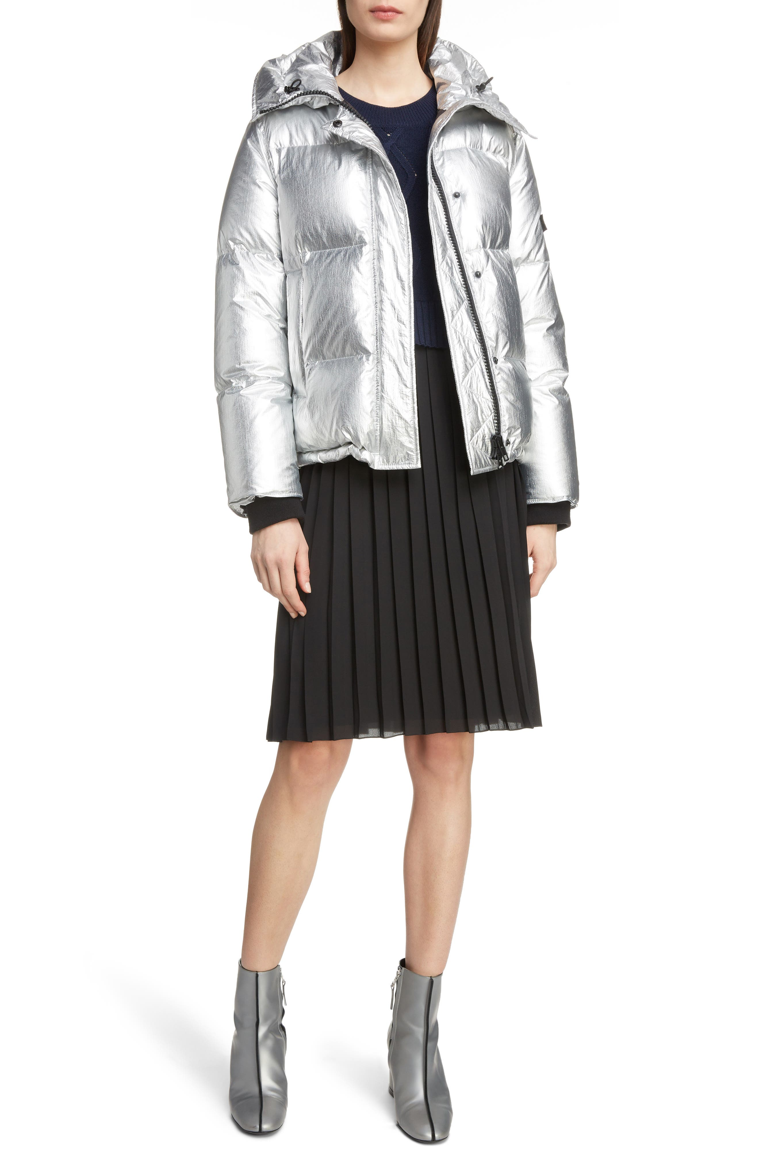 Metallic Down Puffer Coat,                             Alternate thumbnail 6, color,                             040
