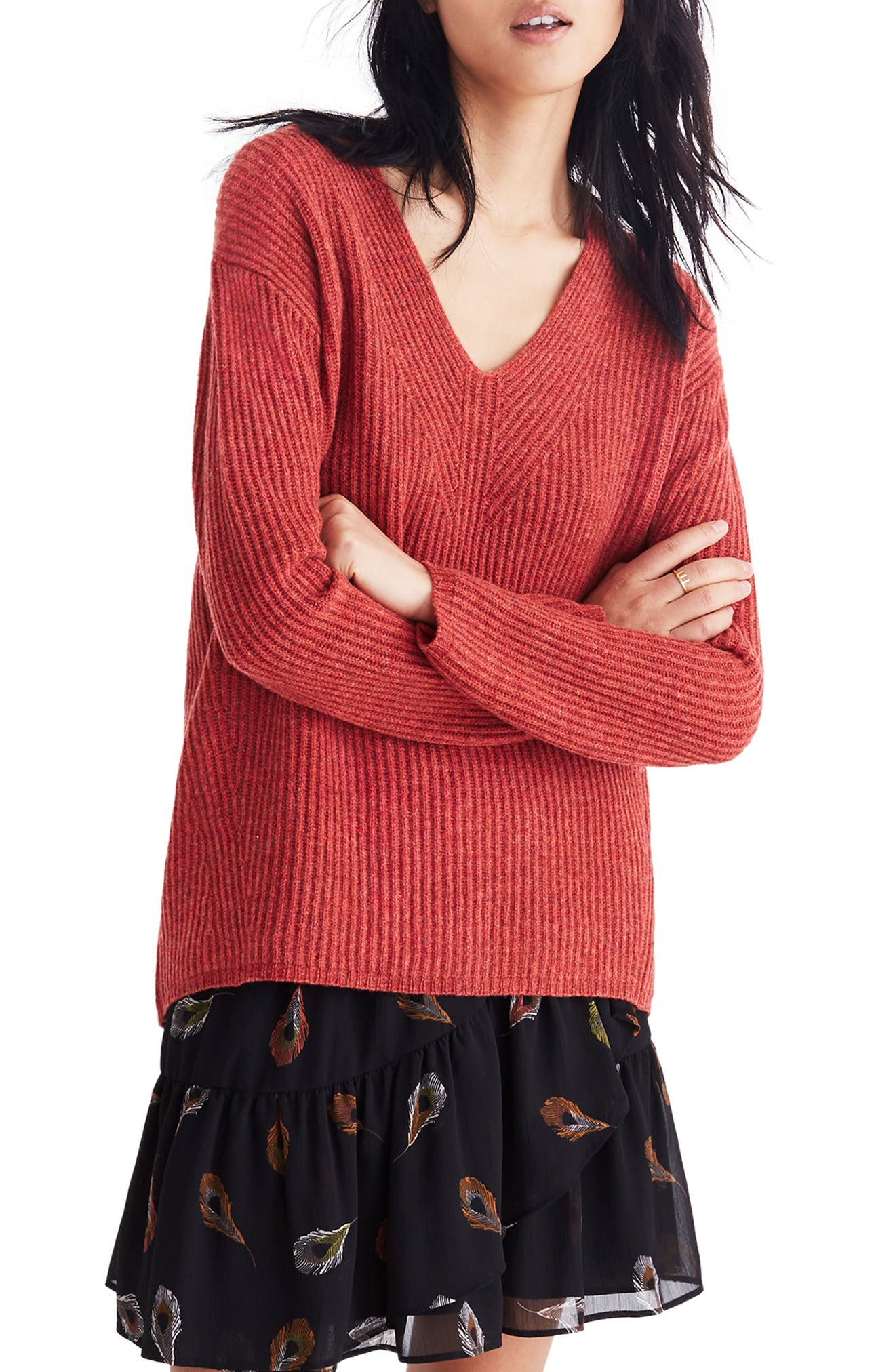 Madewell Woodside Pullover Sweater, Red