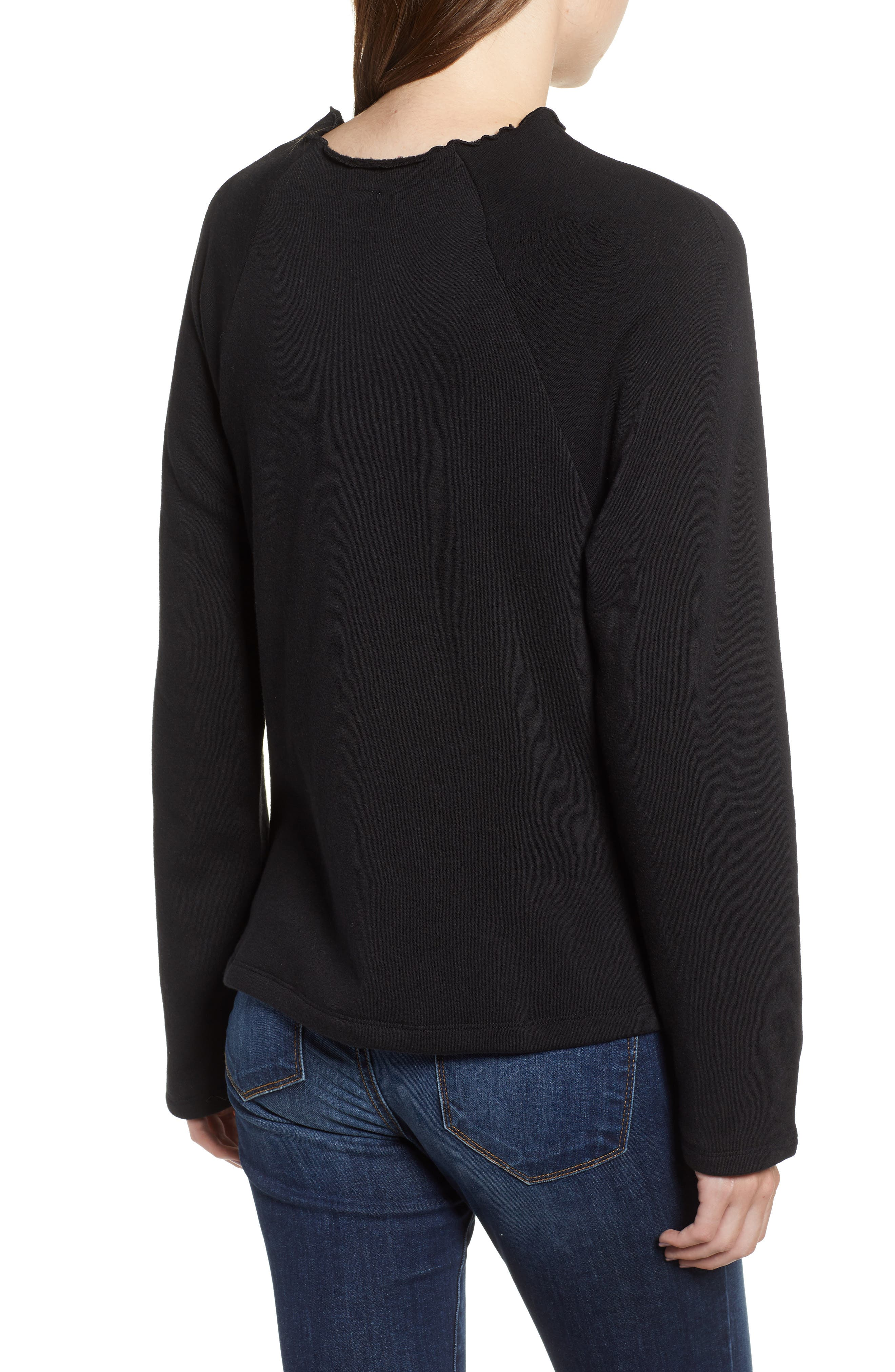 Lettuce Hem Fleece Pullover,                             Alternate thumbnail 2, color,                             001