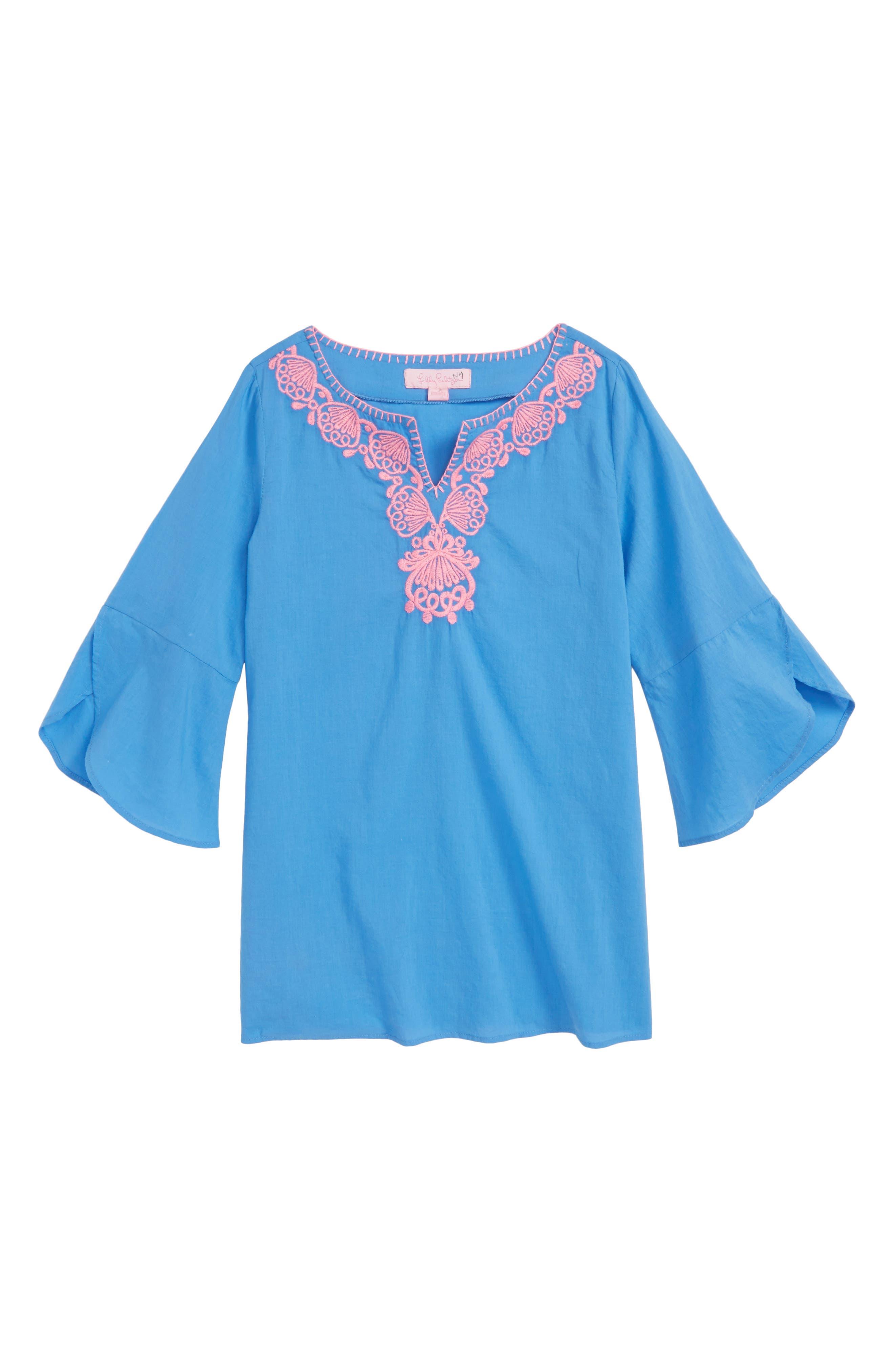 Mini Piet Cotton Cover-Up Dress,                             Main thumbnail 1, color,                             BENNET BLUE