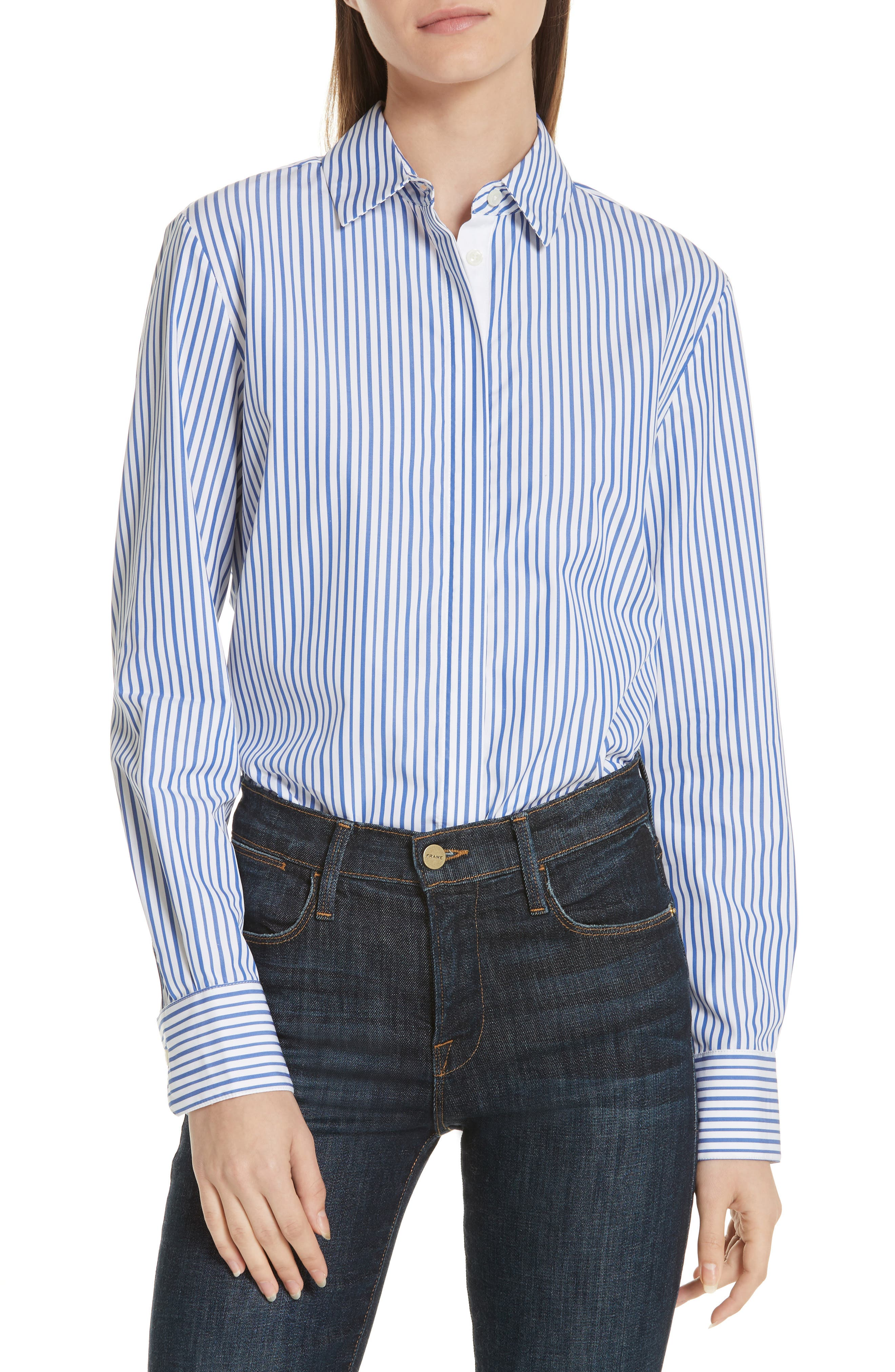 Bleu Man Shirt,                         Main,                         color, BLUE AND WHITE STRIPES