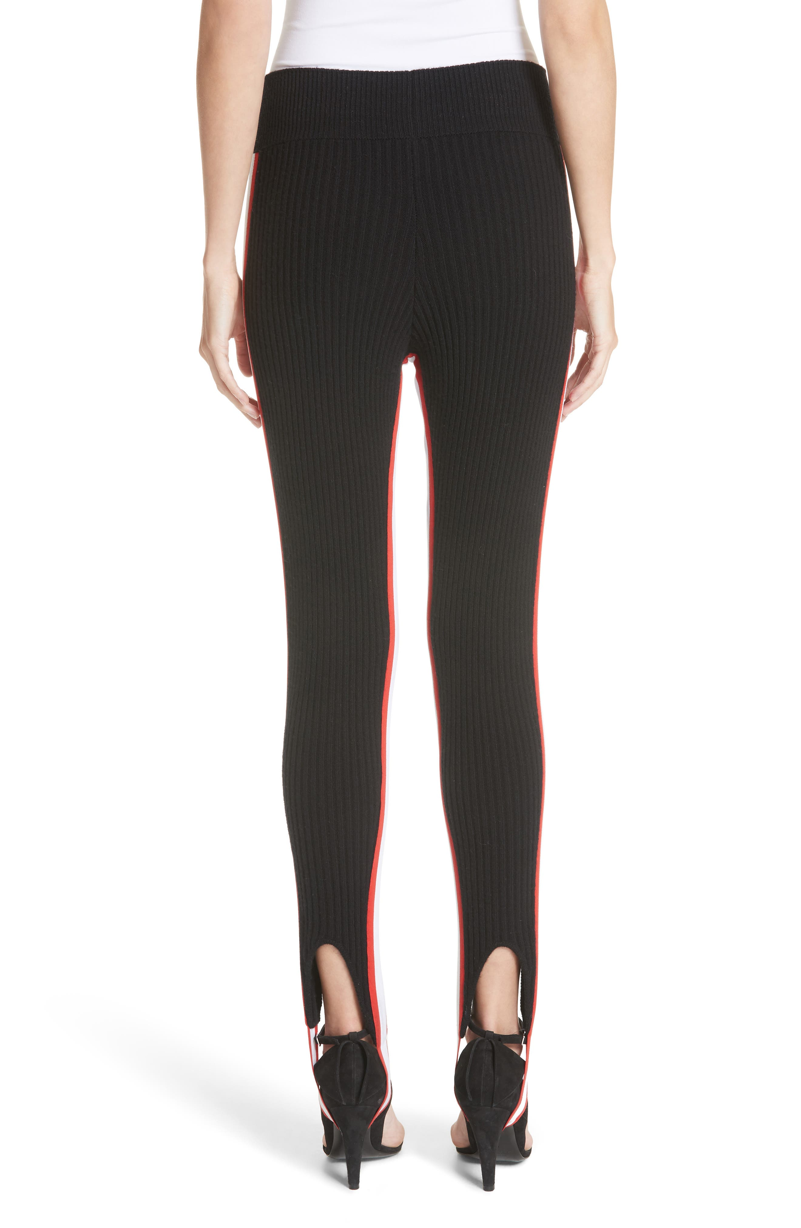 CALVIN KLEIN 205W39NYC,                             Side Stripe Stretch Wool Stirrup Leggings,                             Alternate thumbnail 2, color,                             001
