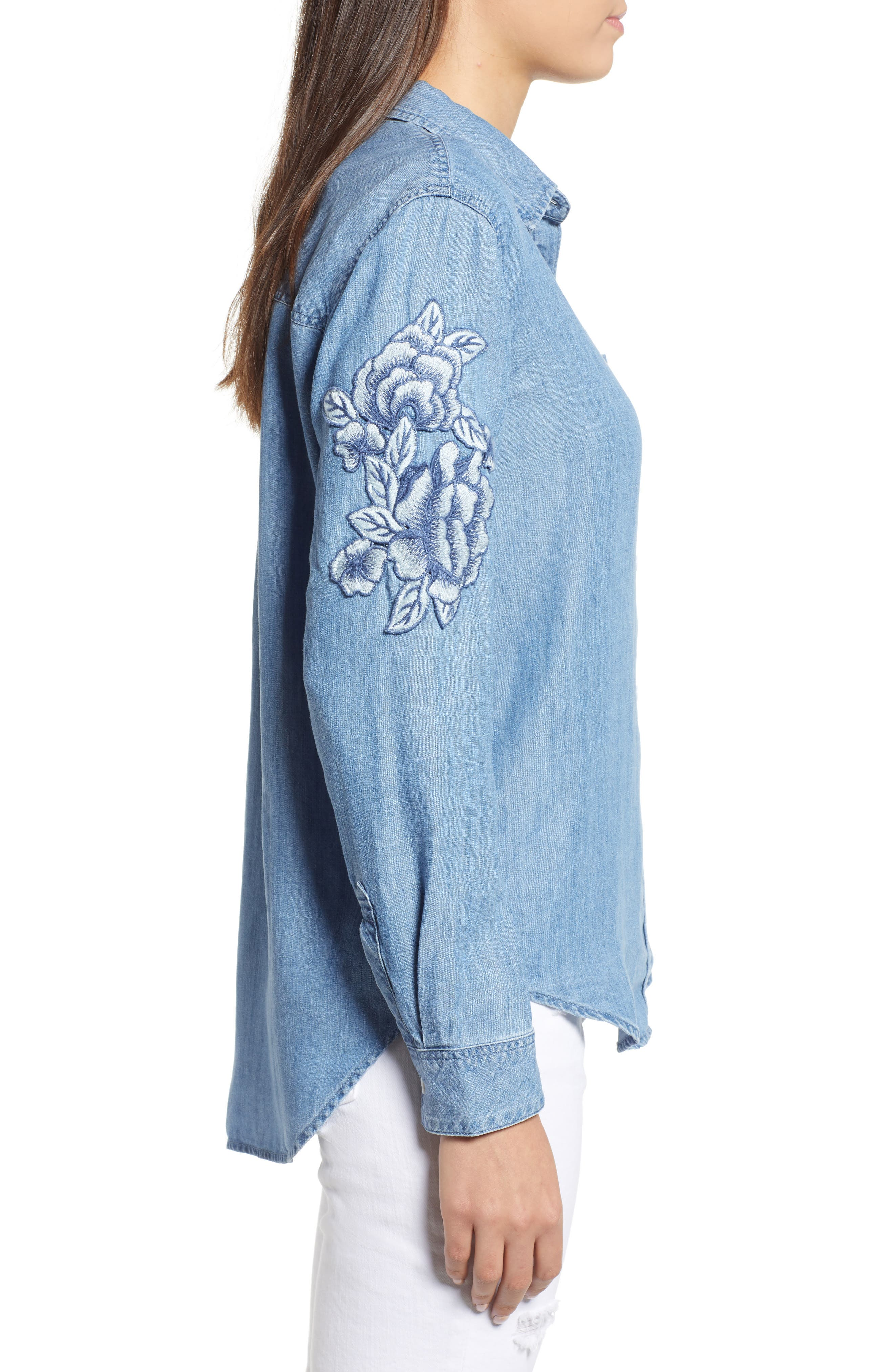 RAILS,                             Ingrid Embroidered Chambray Shirt,                             Alternate thumbnail 4, color,                             493