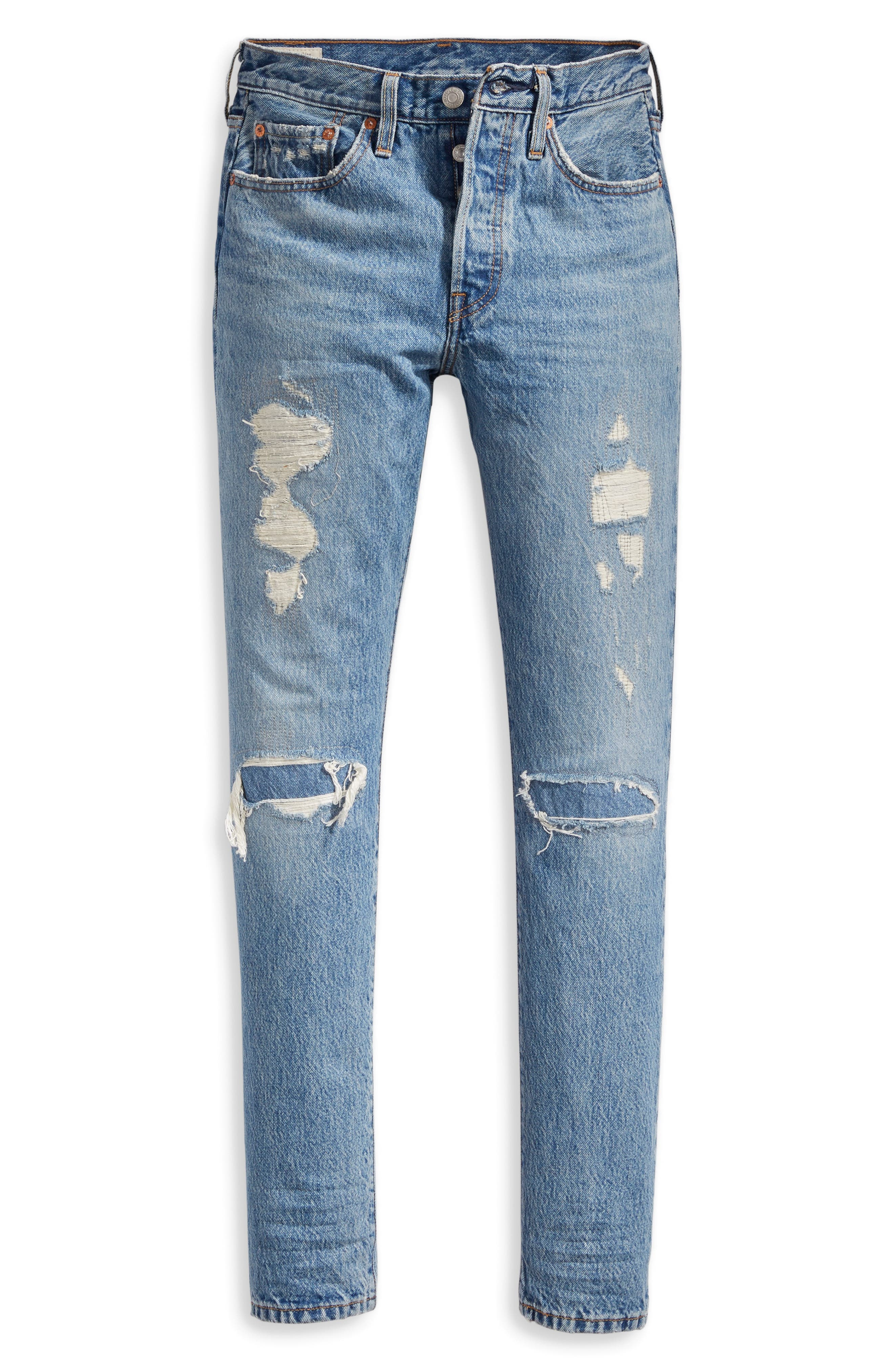 501<sup>®</sup> Distressed Skinny Jeans,                             Alternate thumbnail 4, color,                             420